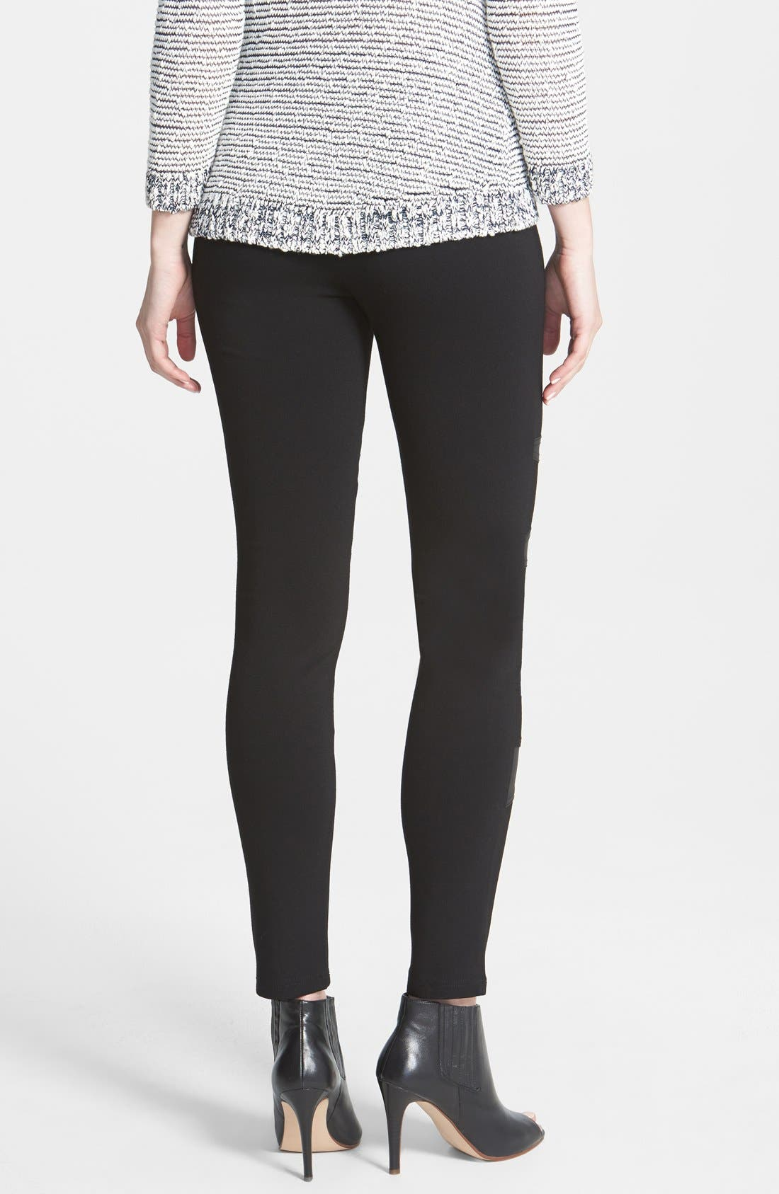 Two by Vince Camuto Faux Leather Trim Moto Leggings,                             Alternate thumbnail 3, color,                             001