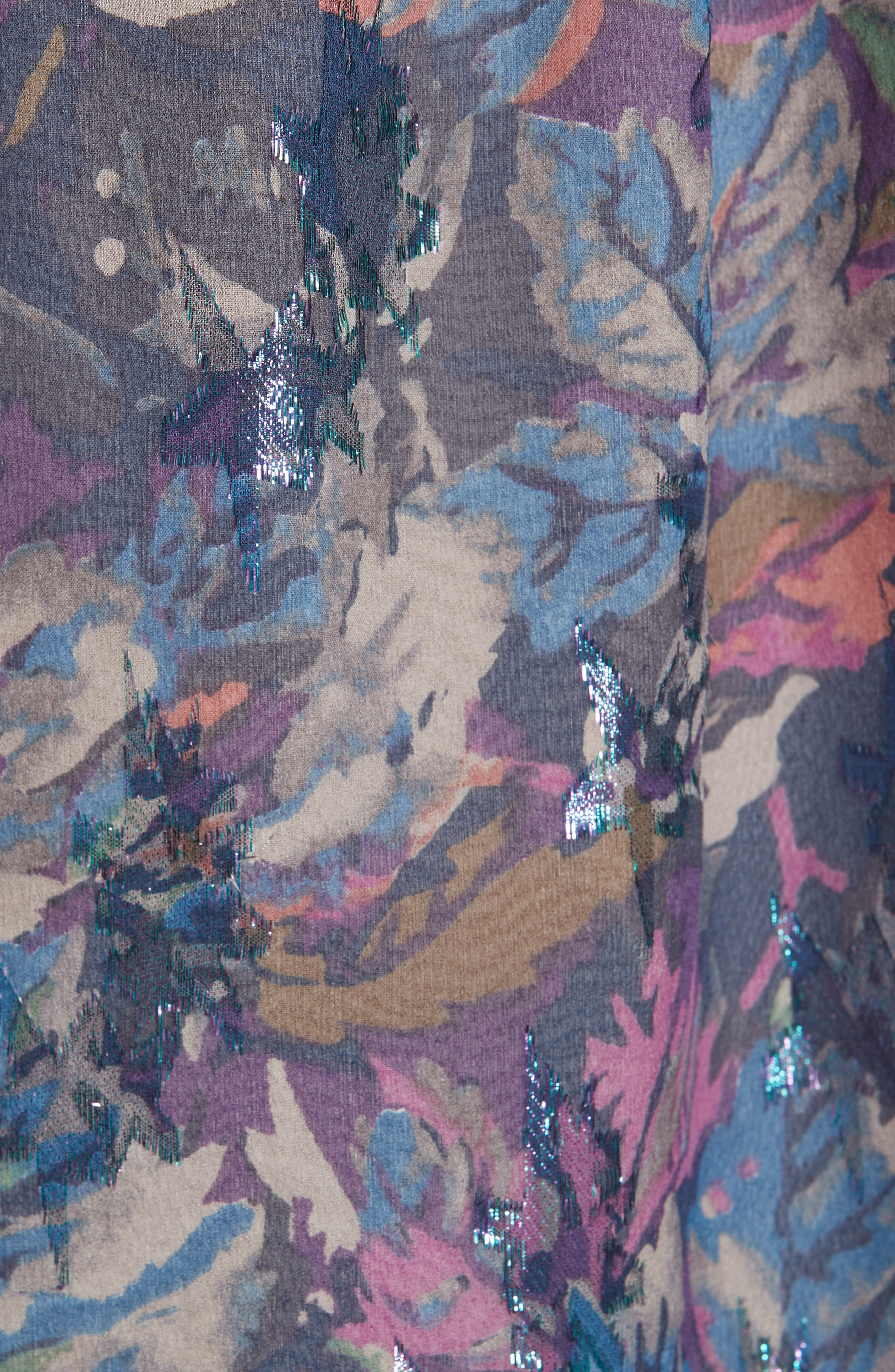Givery Fleur Metallic Silk Top,                             Alternate thumbnail 5, color,                             AMETHYST COMBO