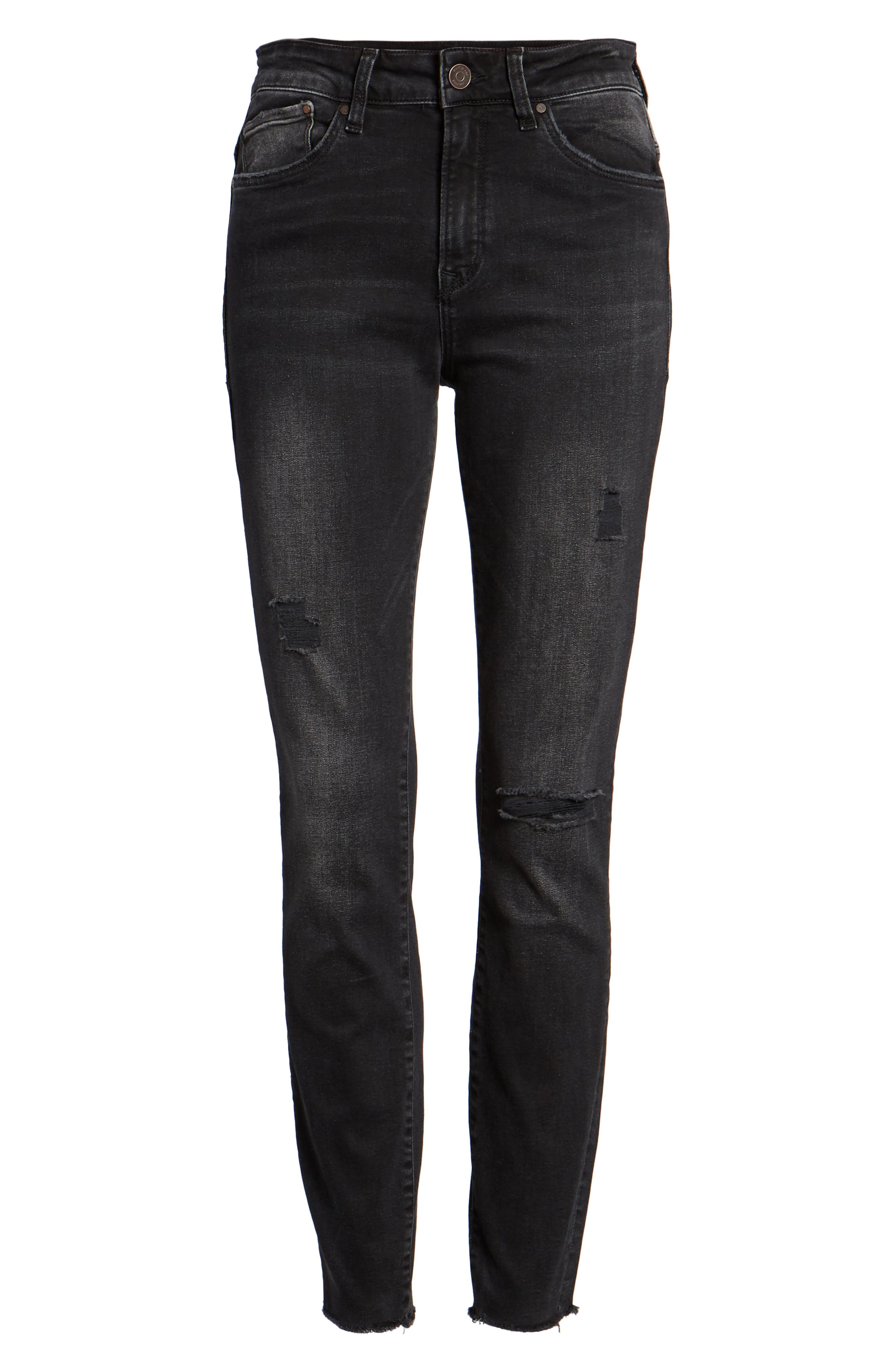 Alissa Super Skinny Ankle Jeans,                             Alternate thumbnail 7, color,                             SMOKE RIPPED NOLITA