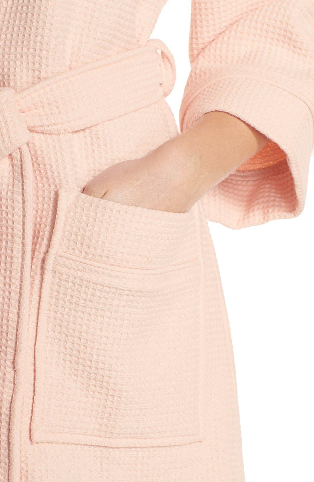 Waffle Knit Short Robe,                             Alternate thumbnail 4, color,