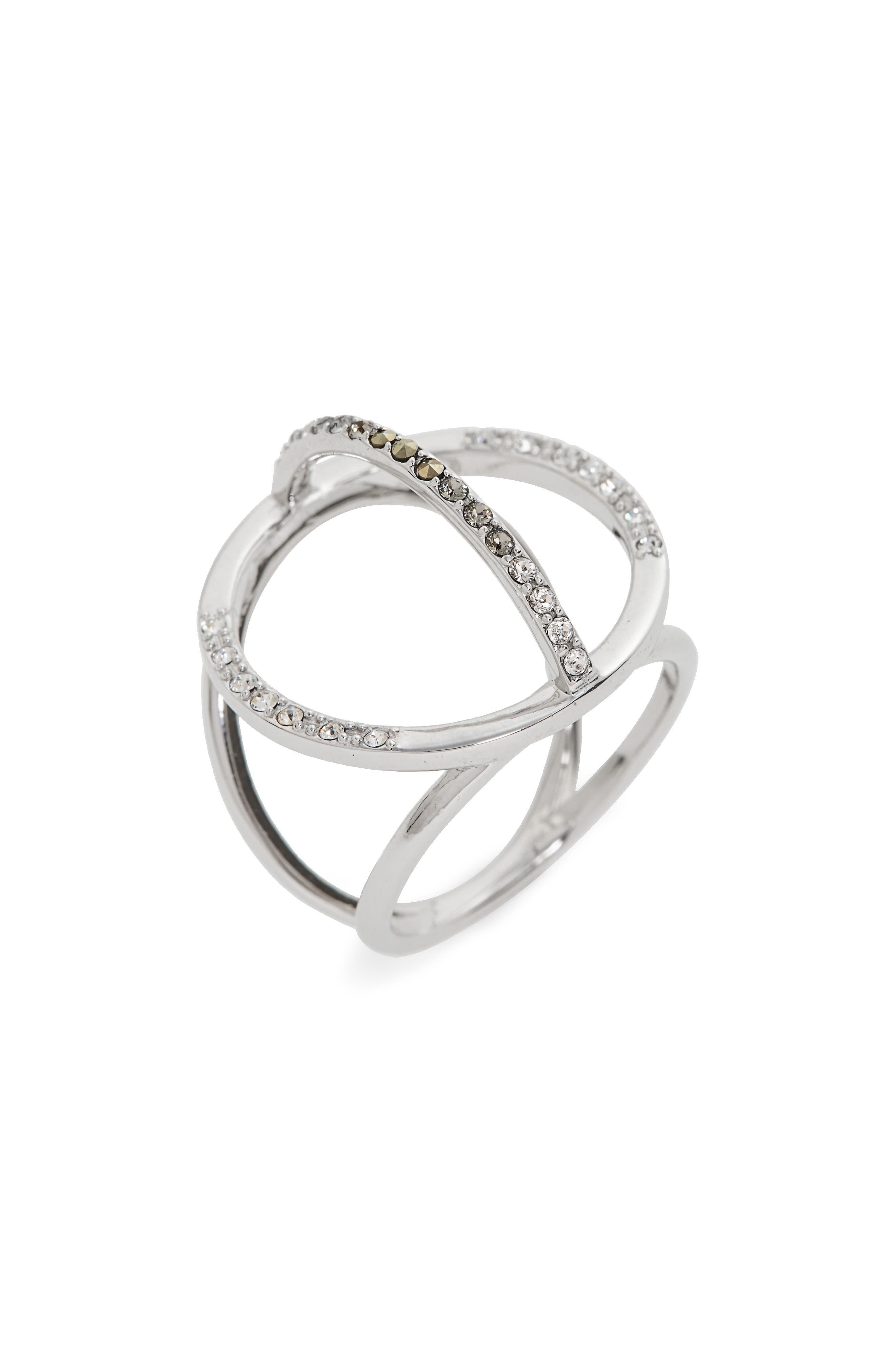 Silver Sparkle Circle Ring,                             Main thumbnail 1, color,                             040