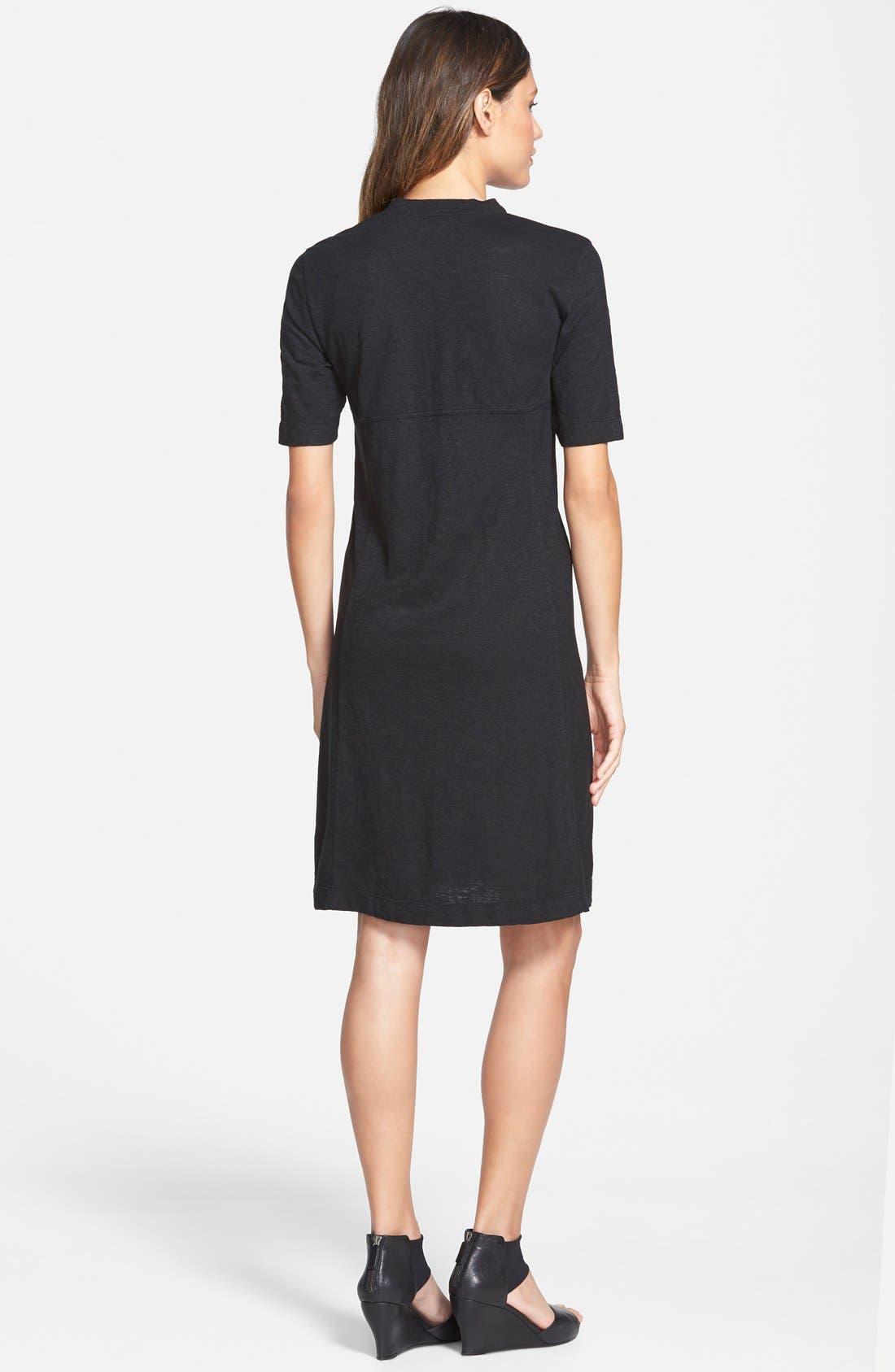 Hemp & Organic Cotton Deep V-Neck Dress,                             Alternate thumbnail 2, color,                             001