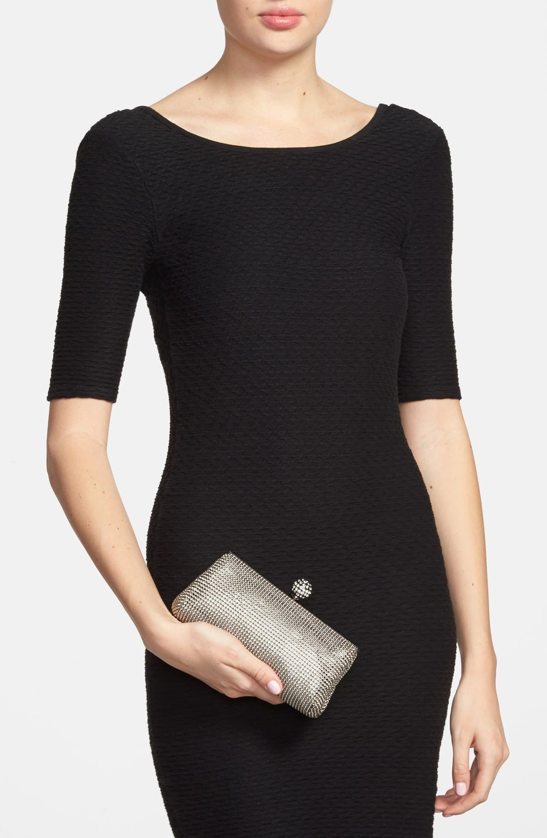 WHITING & DAVIS,                             'Crystal' Mesh Clutch,                             Alternate thumbnail 4, color,                             PEWTER
