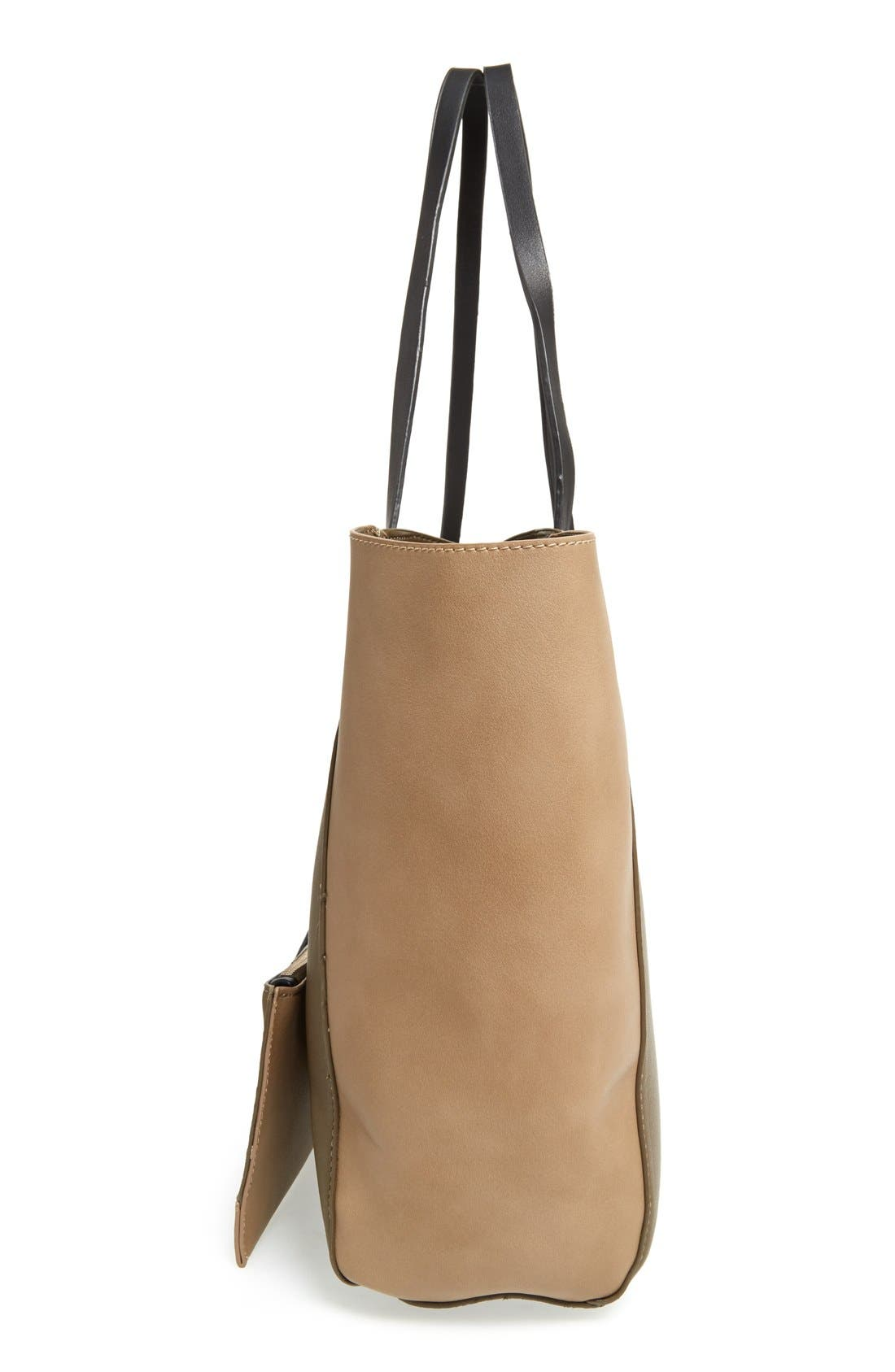 Colorblock Faux Leather Tote,                             Alternate thumbnail 26, color,