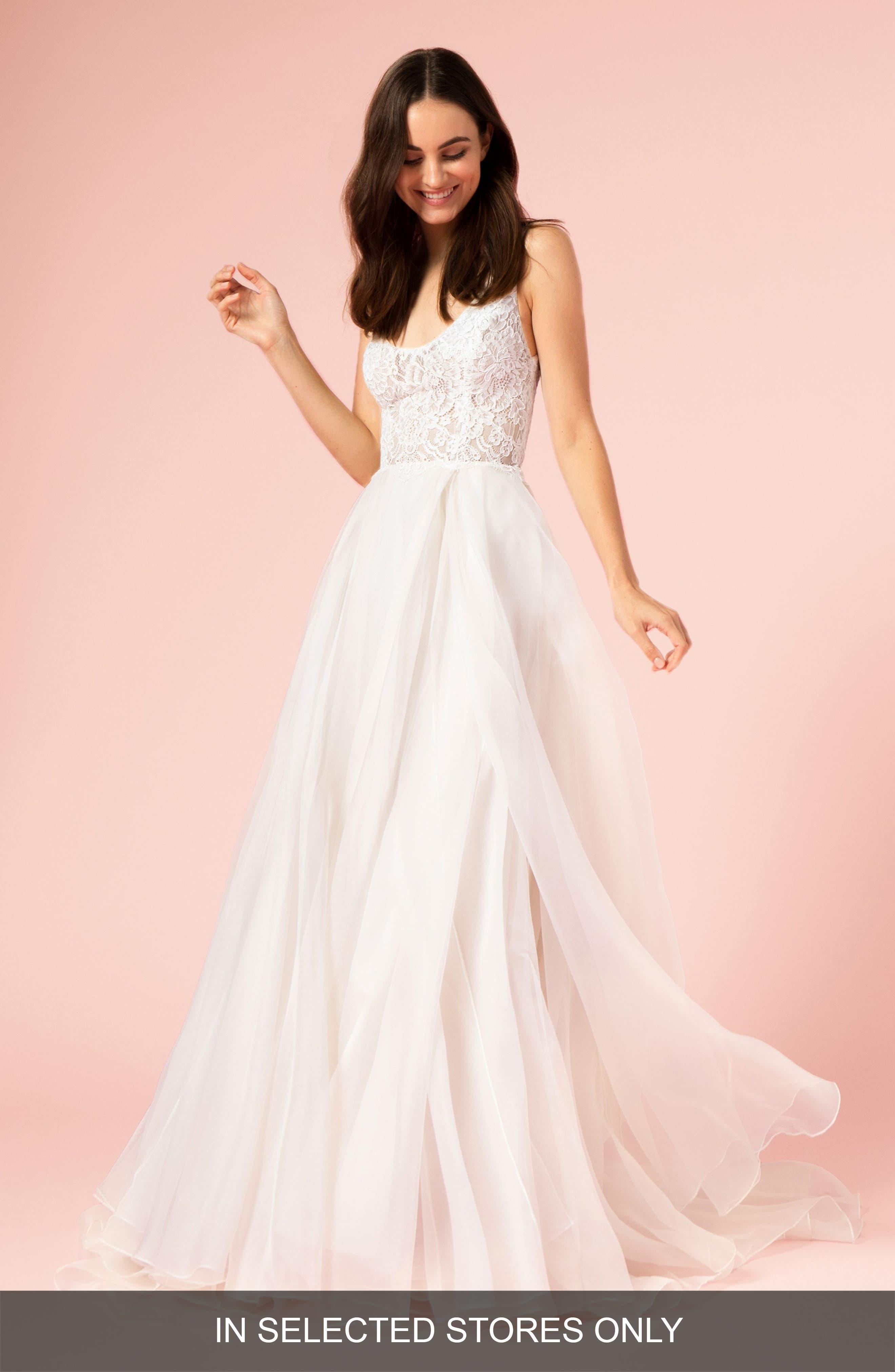 Lace Bodice Gown,                         Main,                         color, SILK WHITE/BLUSH