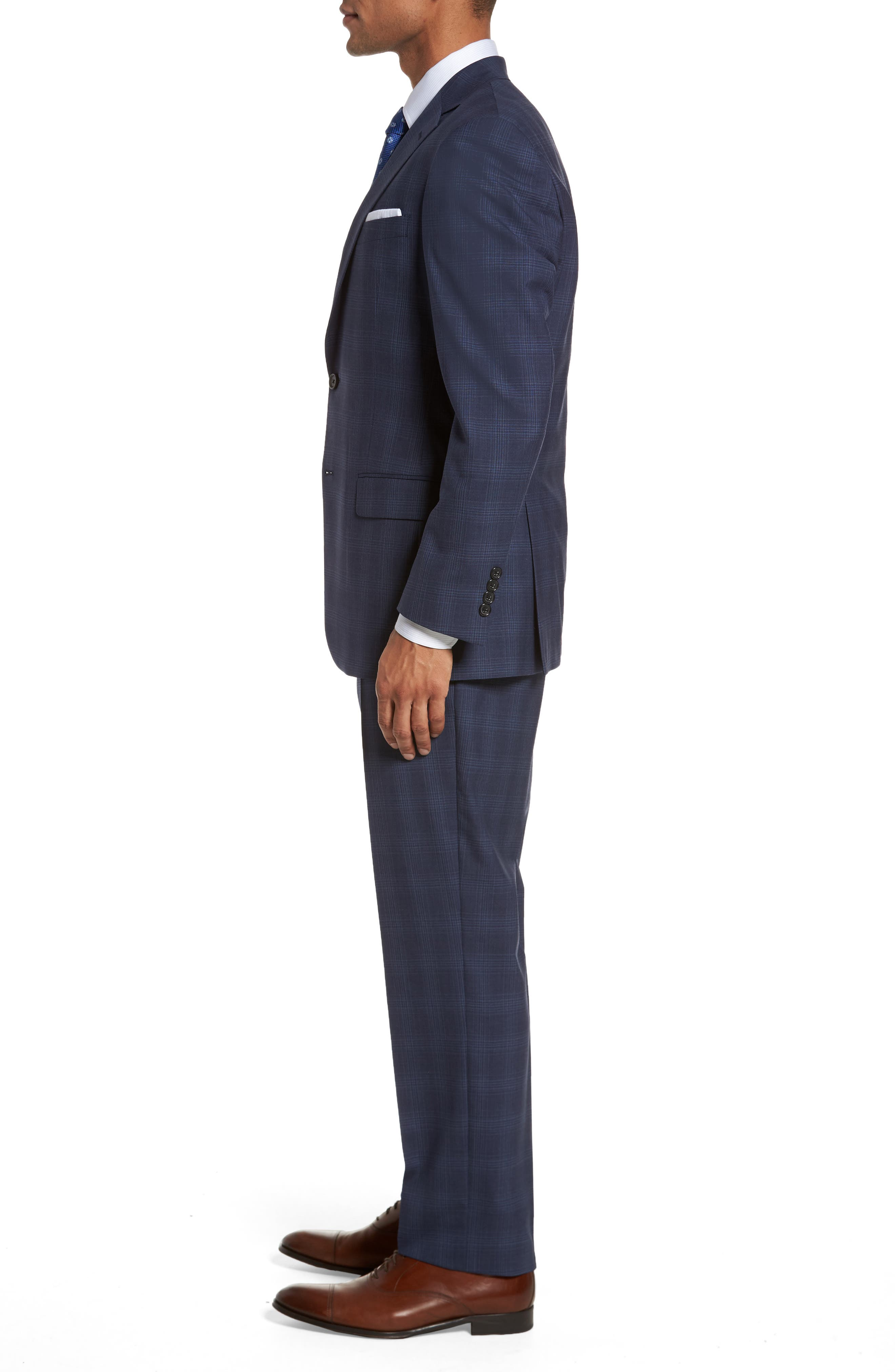Classic Fit Plaid Wool Suit,                             Alternate thumbnail 3, color,                             410