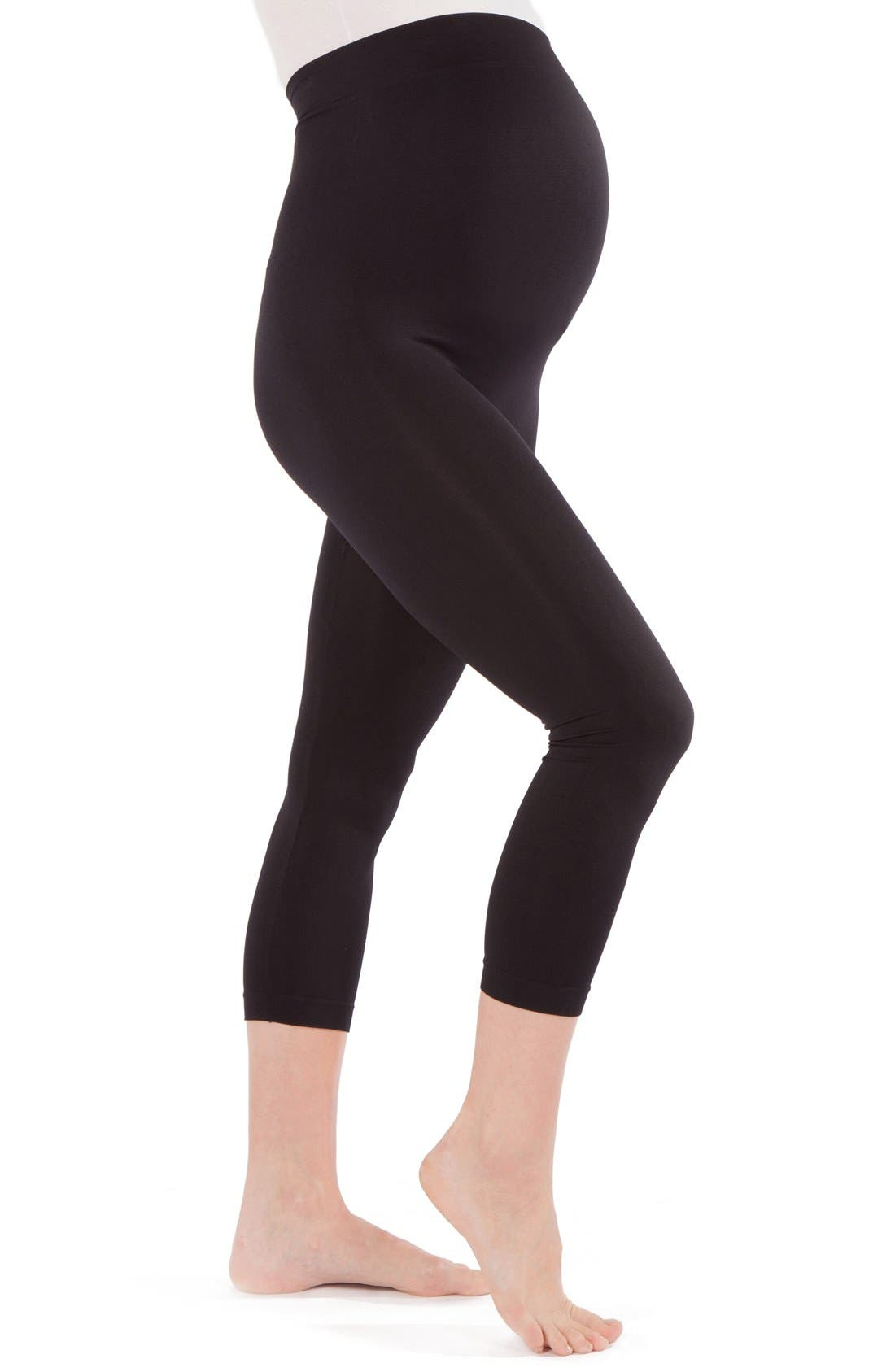 2-Pack Seamless Maternity Capri Leggings,                             Alternate thumbnail 3, color,                             BLACK