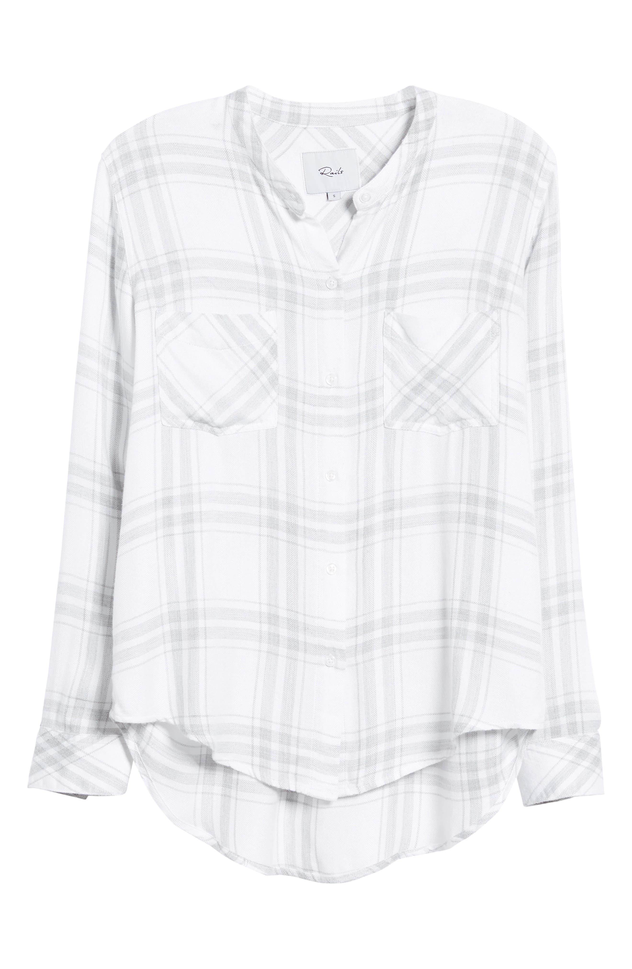 Allison Plaid Shirt,                             Alternate thumbnail 6, color,                             WHITE SILVER