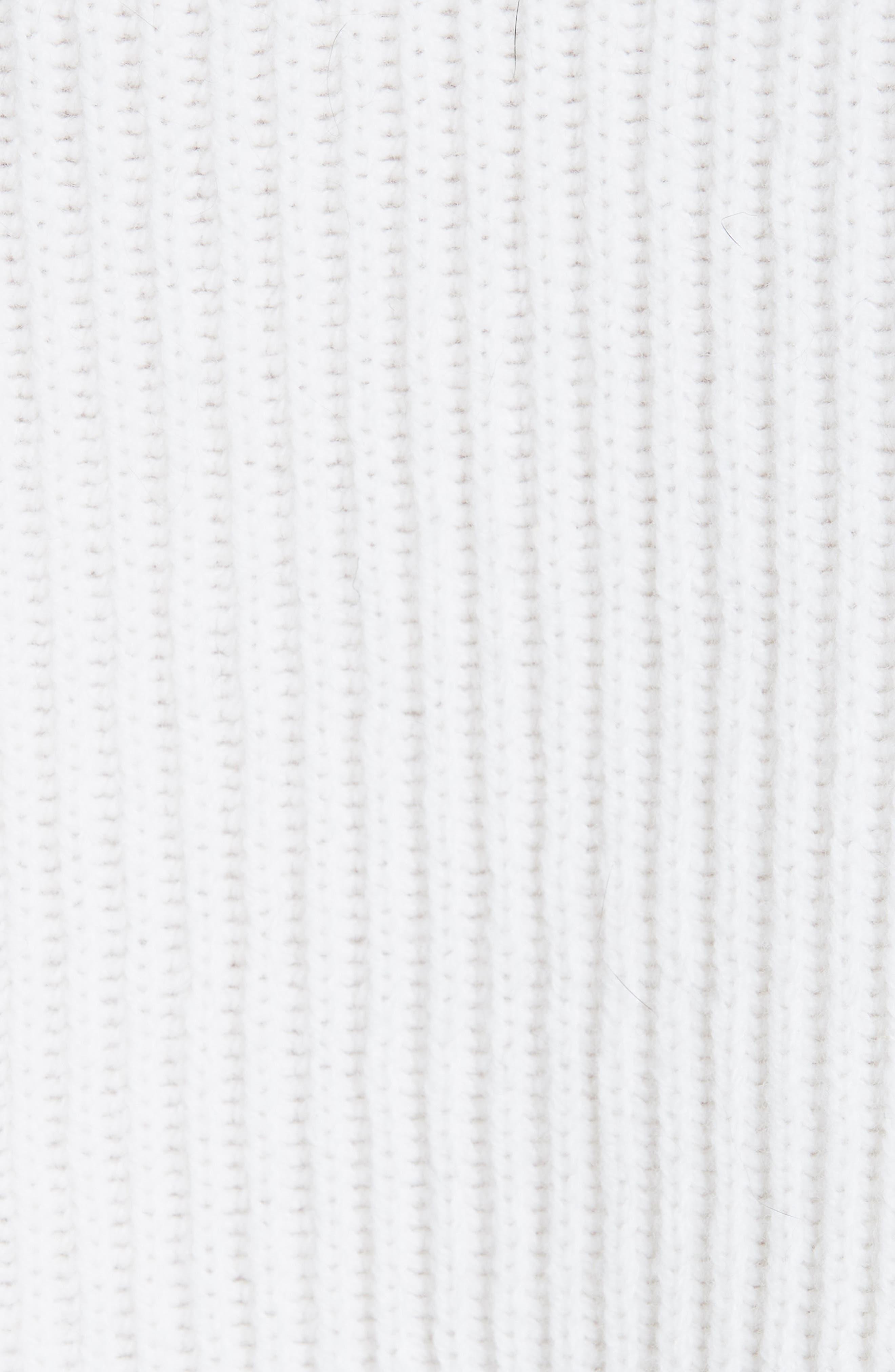 FENDI,                             Scribble Heart Sweater with Genuine Mink Fur Trim,                             Alternate thumbnail 5, color,                             WHITE