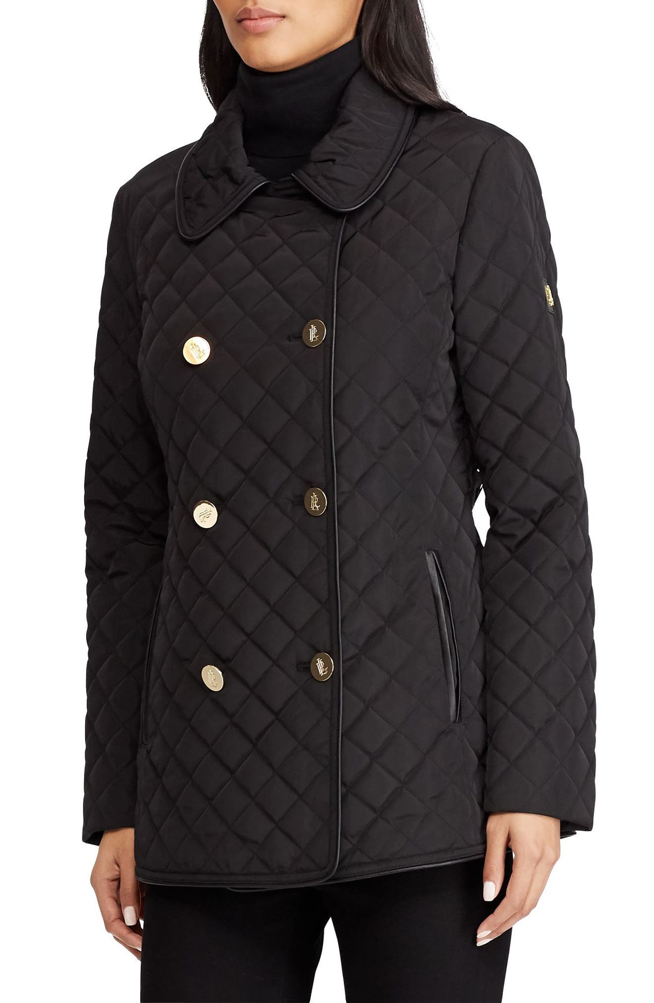 Double Breasted Quilted Coat,                             Main thumbnail 1, color,                             001