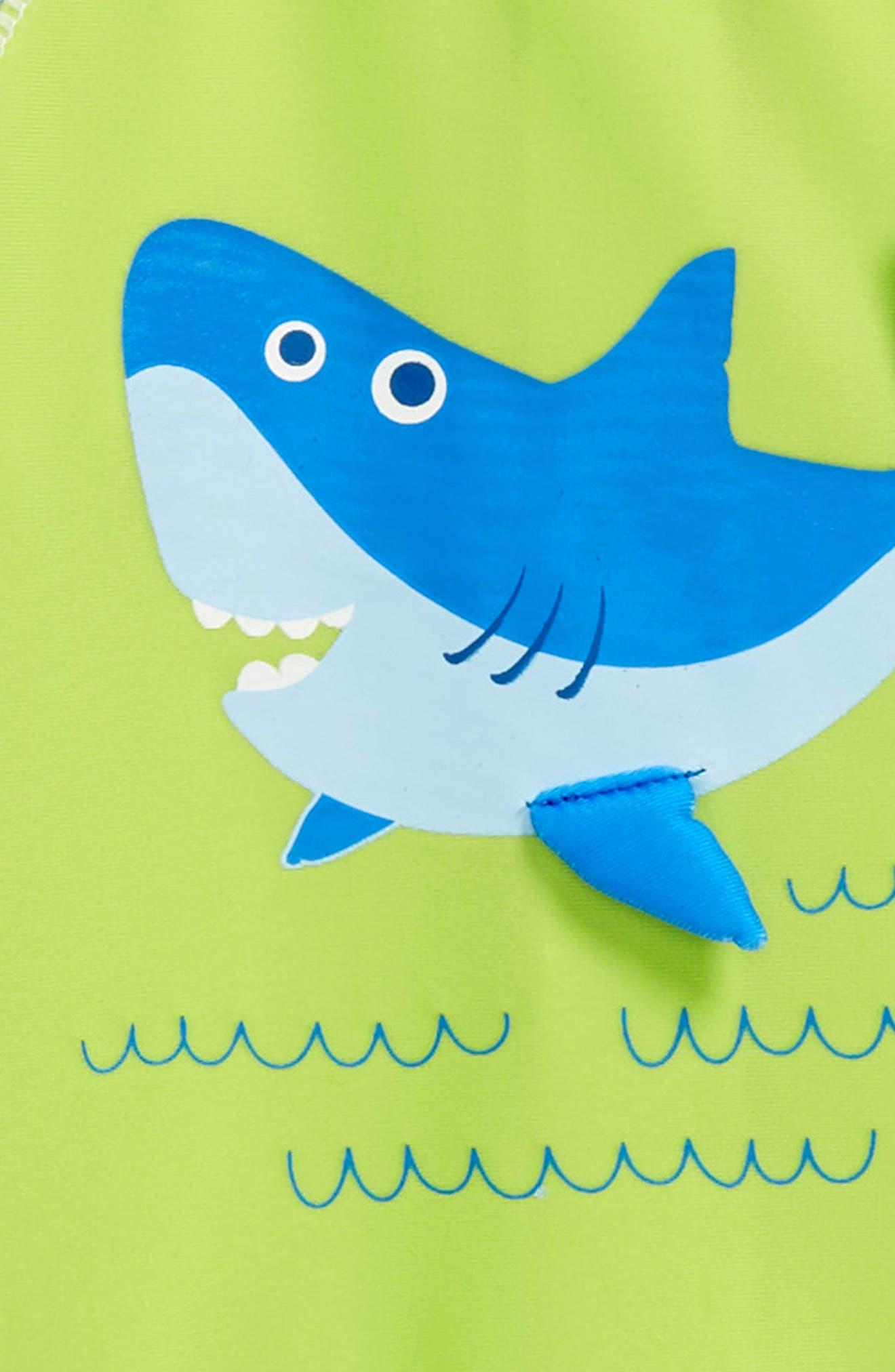 Shark Surf One-Piece Rashguard Swimsuit,                             Alternate thumbnail 2, color,                             GREEN MULTI