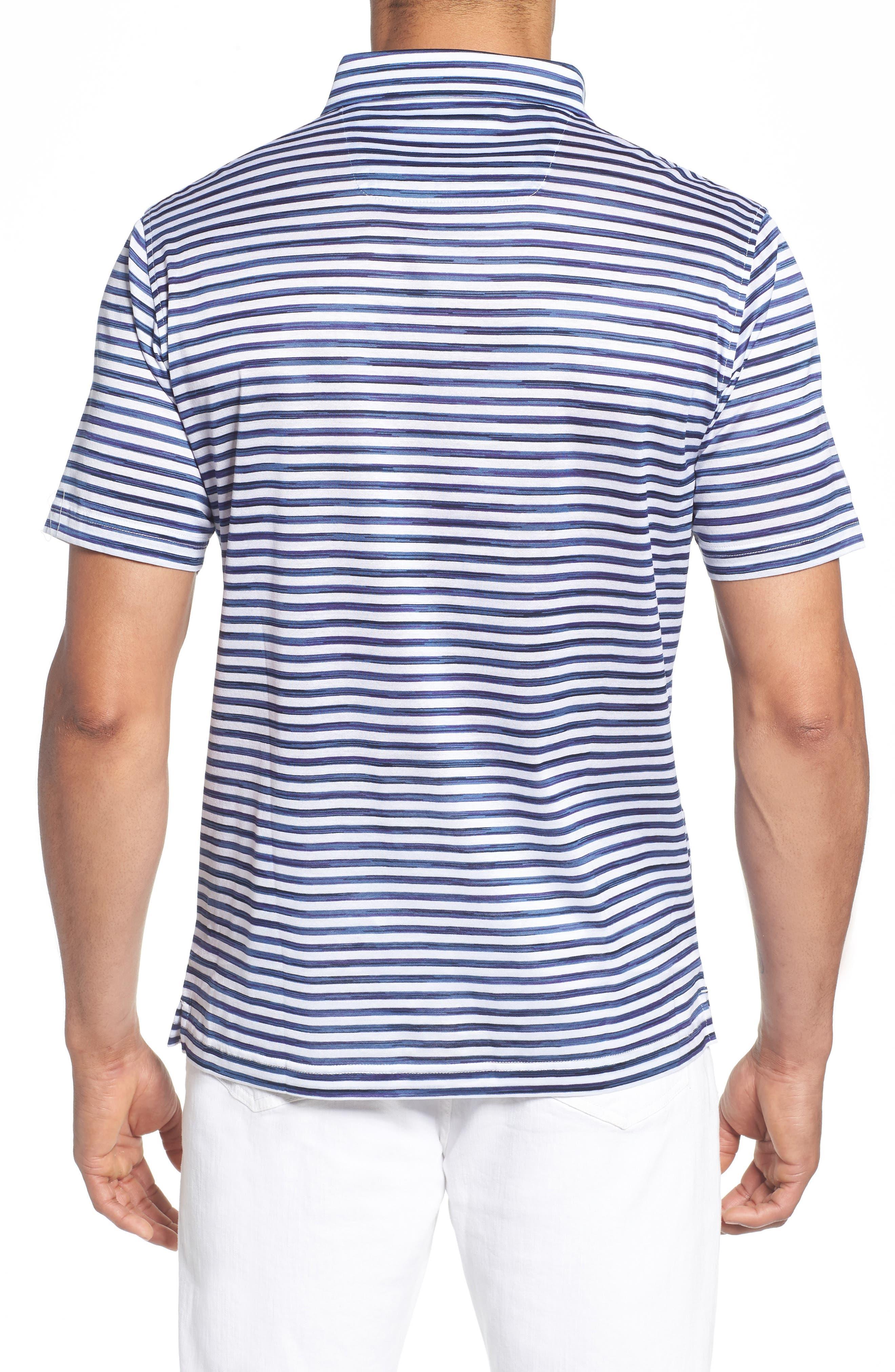 Stripe Knit Polo,                             Alternate thumbnail 2, color,                             WHITE