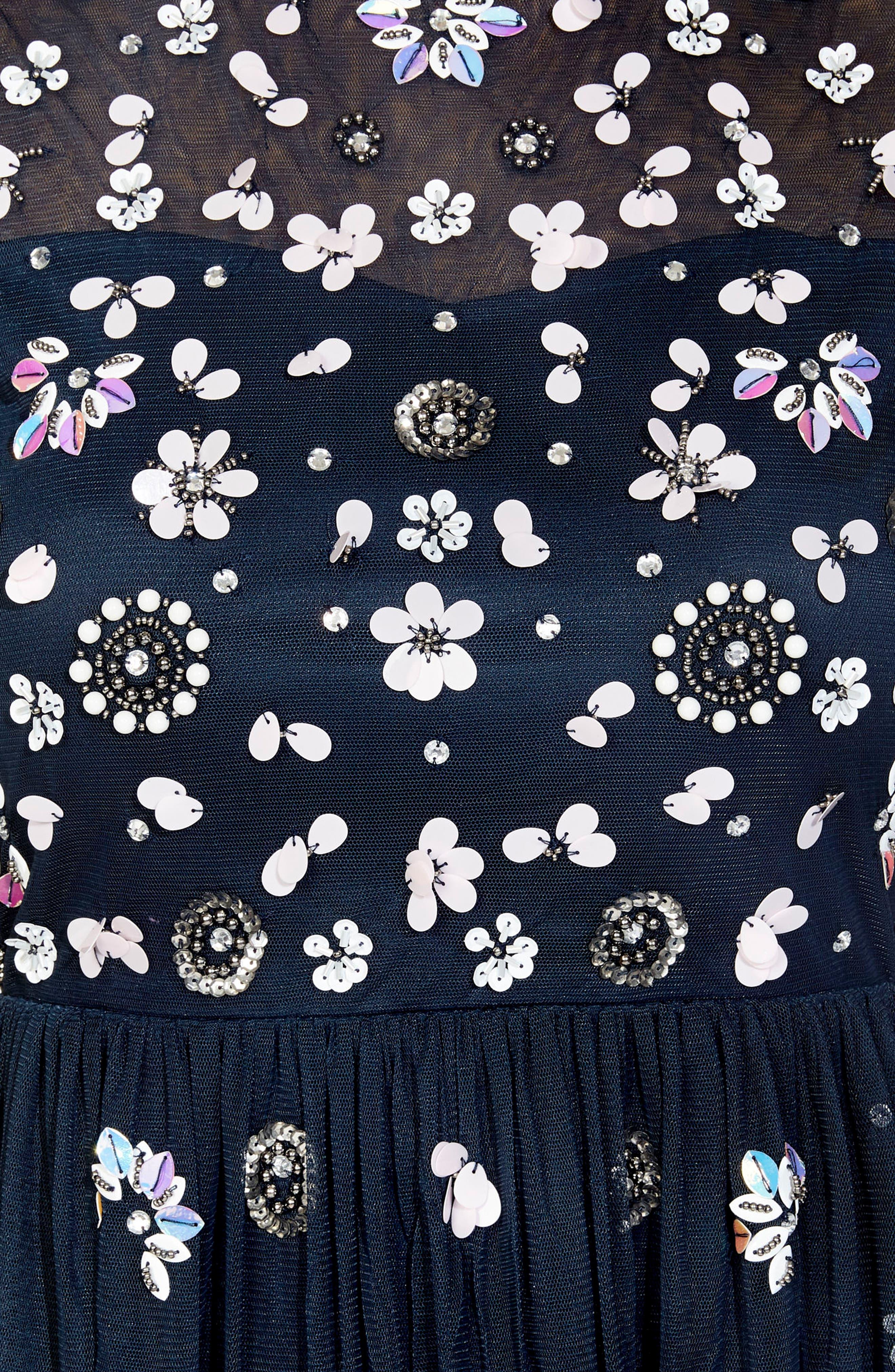 Baby Sequin Midi Dress,                             Alternate thumbnail 3, color,                             NAVY