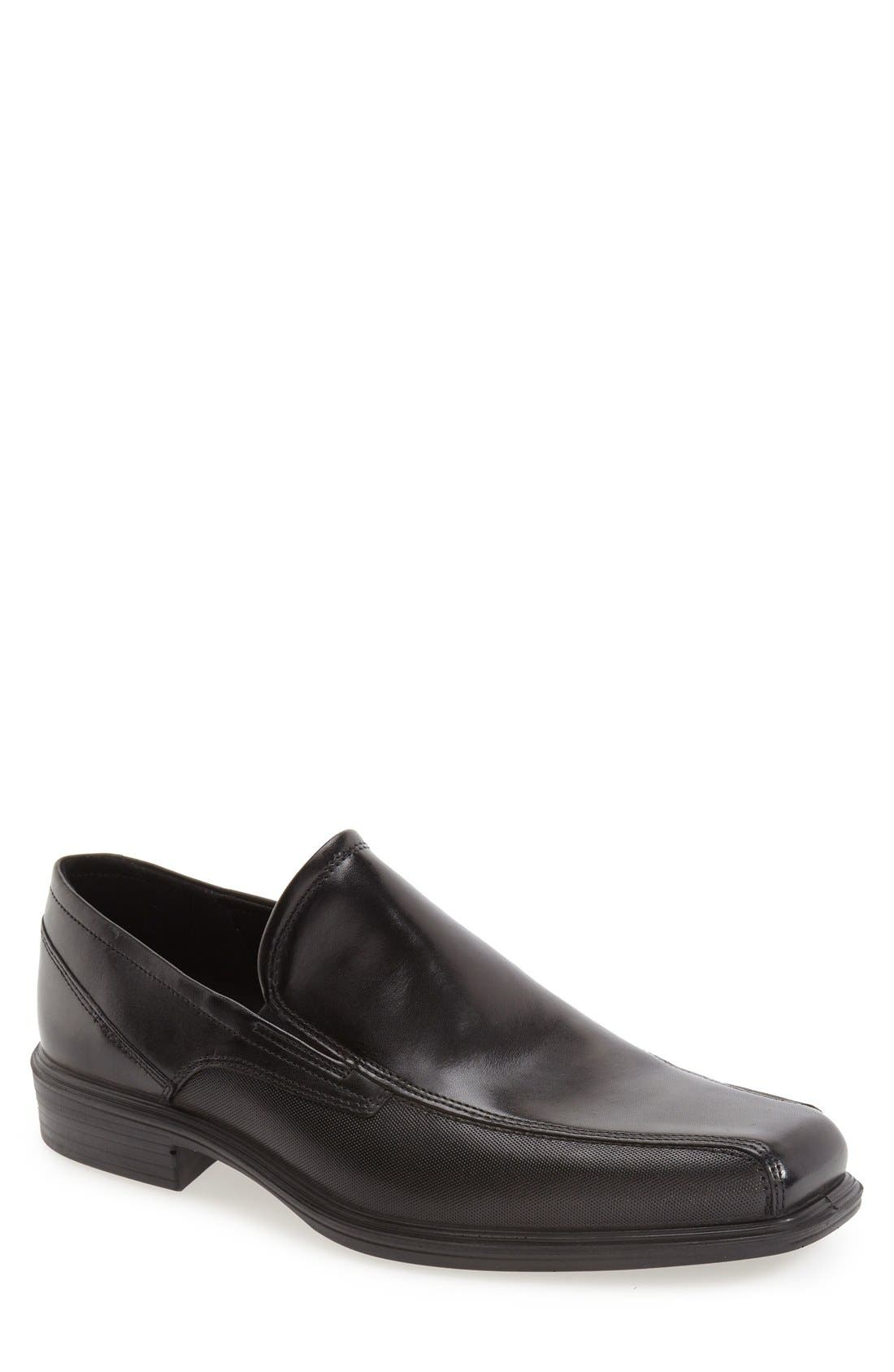 'Johannesburg' Venetian Loafer,                             Main thumbnail 1, color,                             BLACK LEATHER