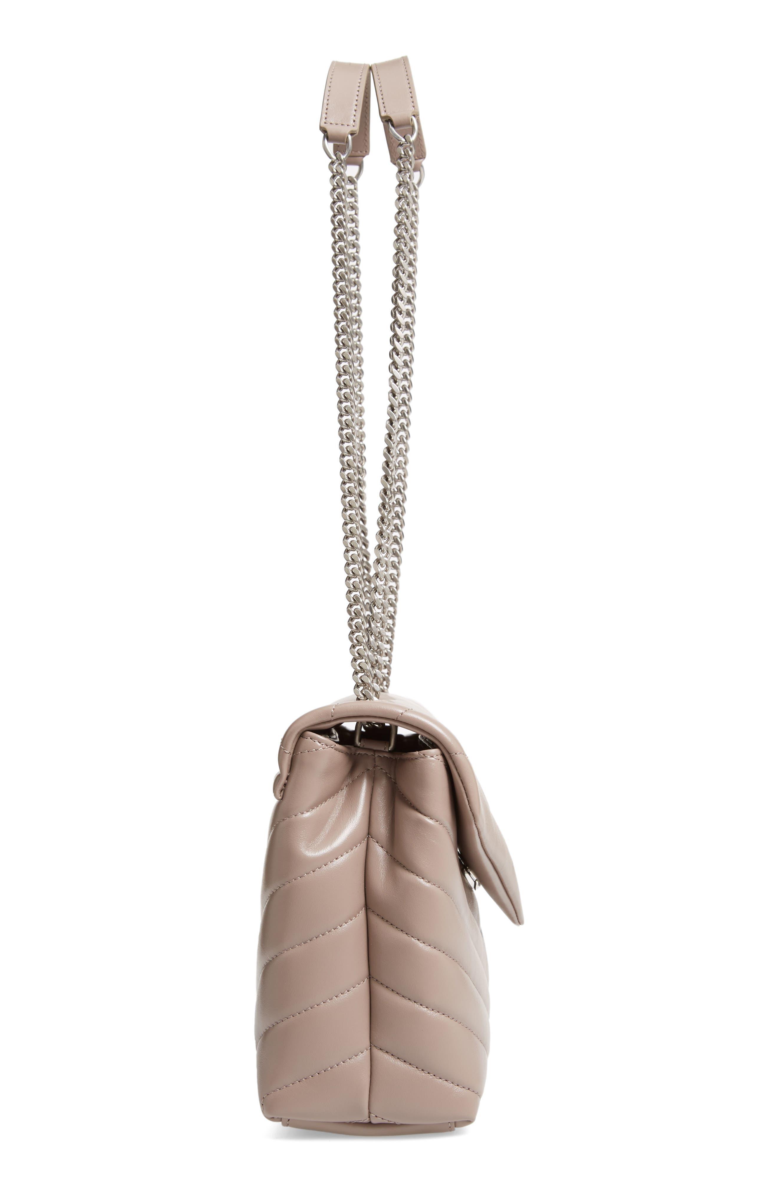 Small Loulou Matelassé Leather Shoulder Bag,                             Alternate thumbnail 5, color,                             TAUPE SABLE