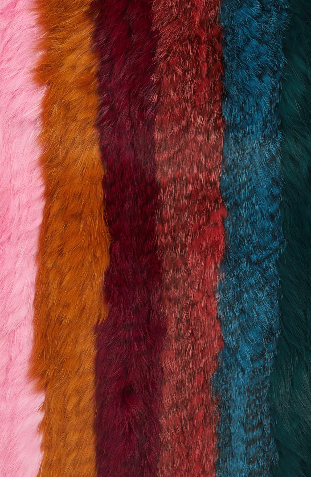Striped Genuine Rabbit Fur Infinity Scarf,                             Alternate thumbnail 4, color,                             600