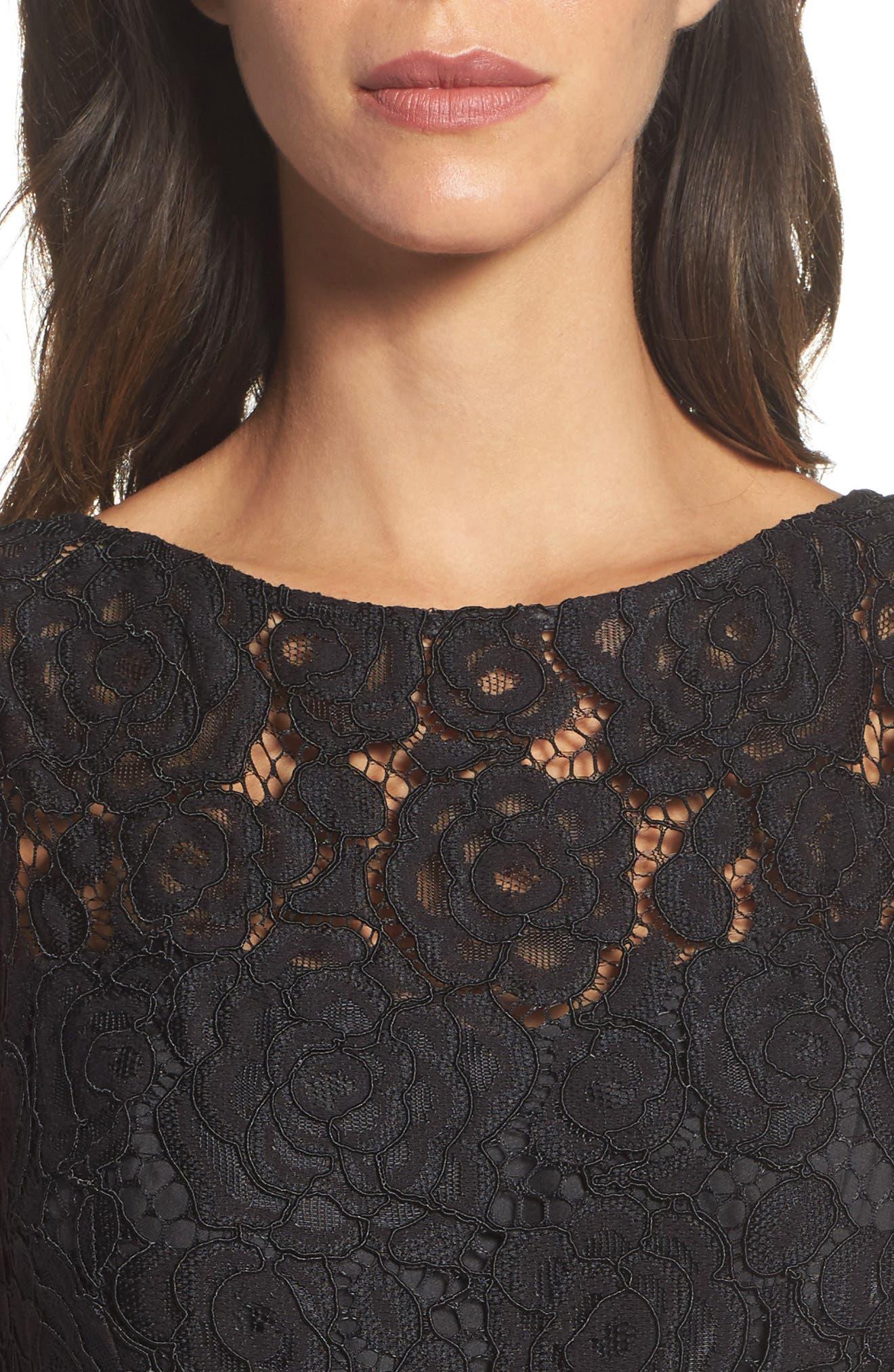 Lace Bodice Midi Dress,                             Alternate thumbnail 4, color,                             006