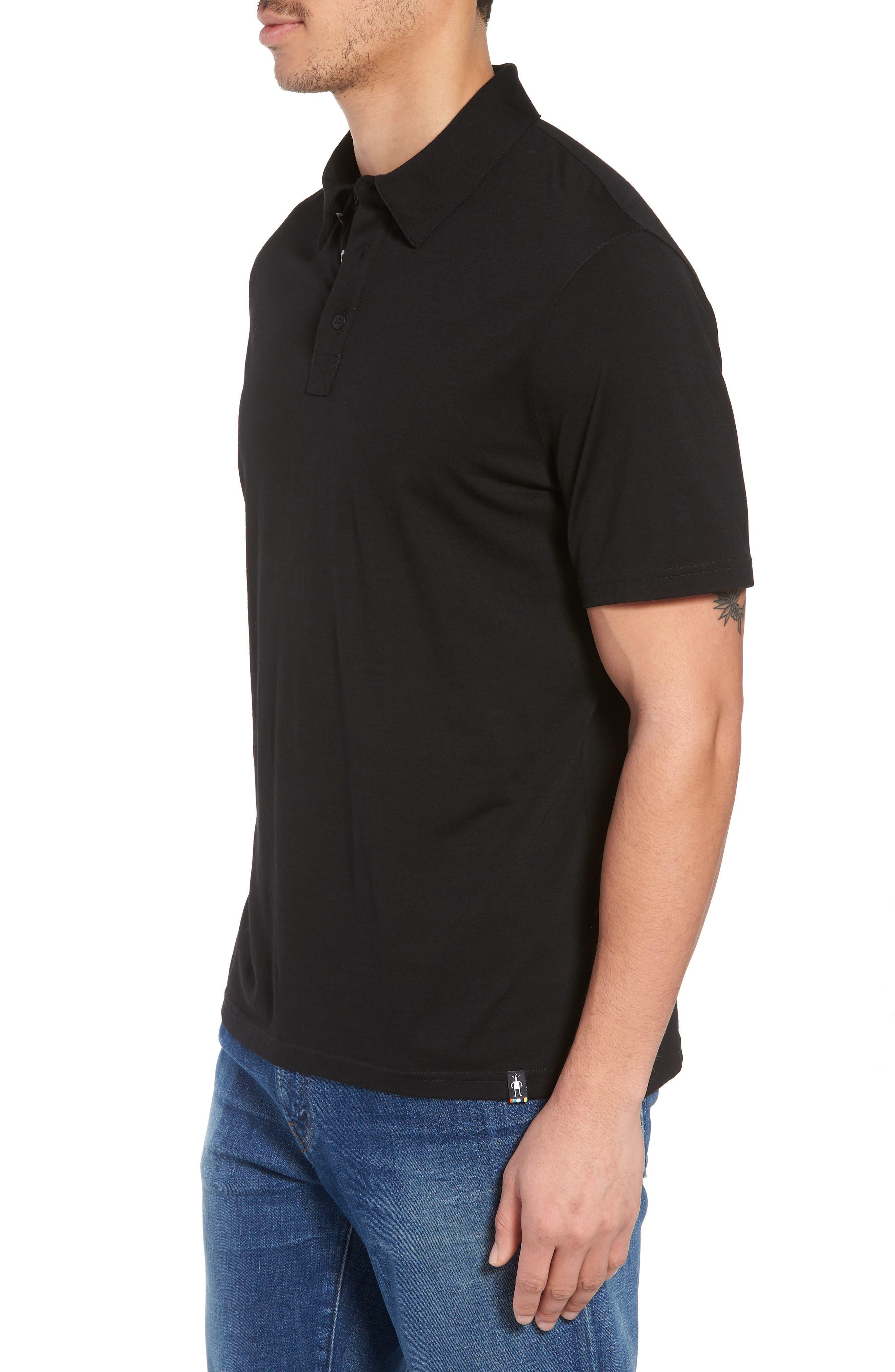 Merino 150 Wool Blend Polo Shirt,                             Alternate thumbnail 3, color,                             BLACK
