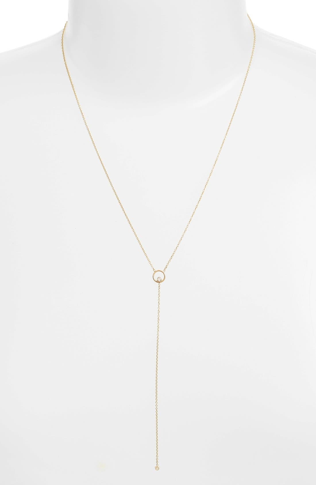 Diamond Circle Y-Necklace,                             Alternate thumbnail 3, color,                             YELLOW GOLD