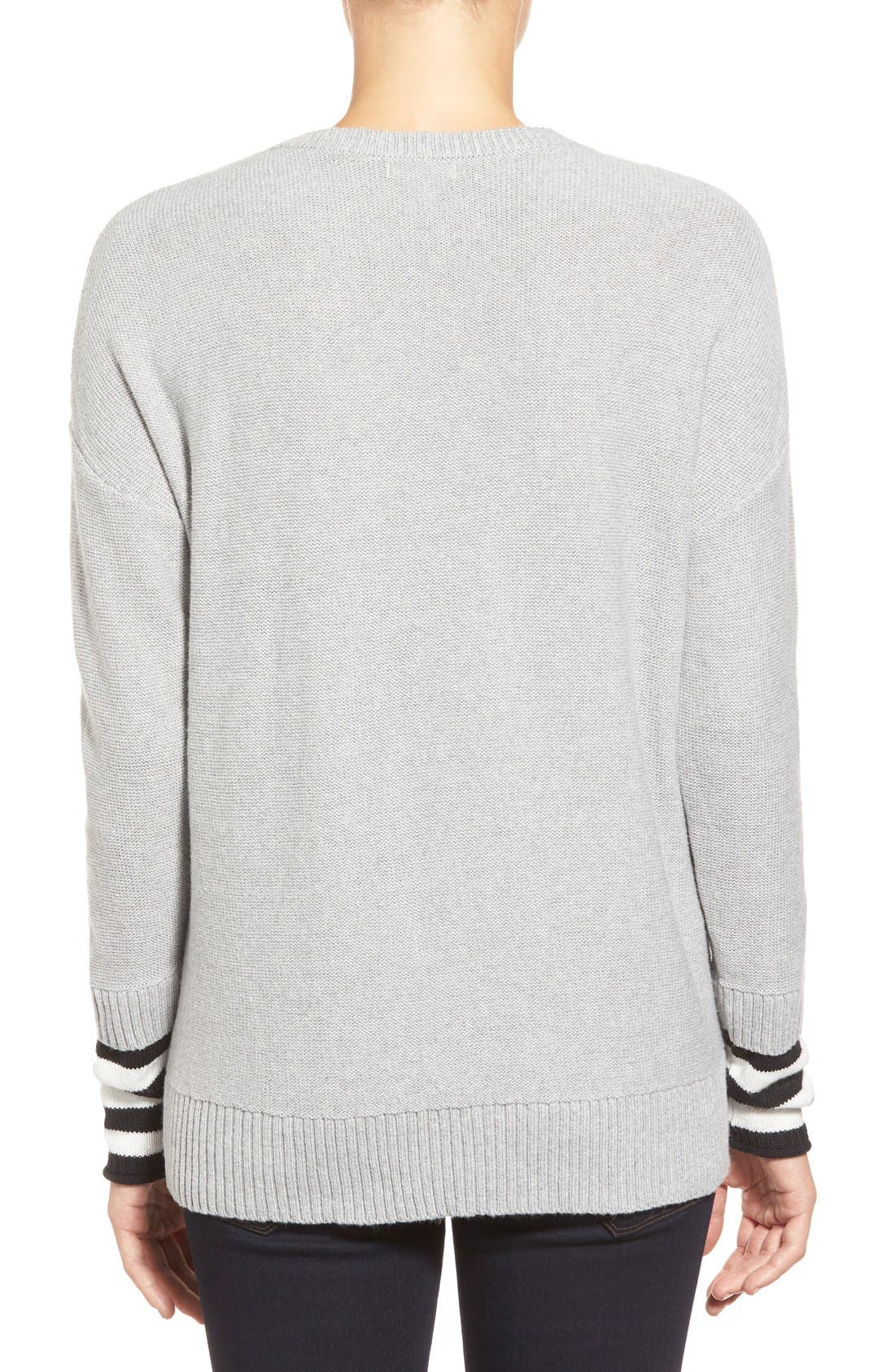 Contrast Cuff Crewneck Sweater,                             Alternate thumbnail 7, color,                             030