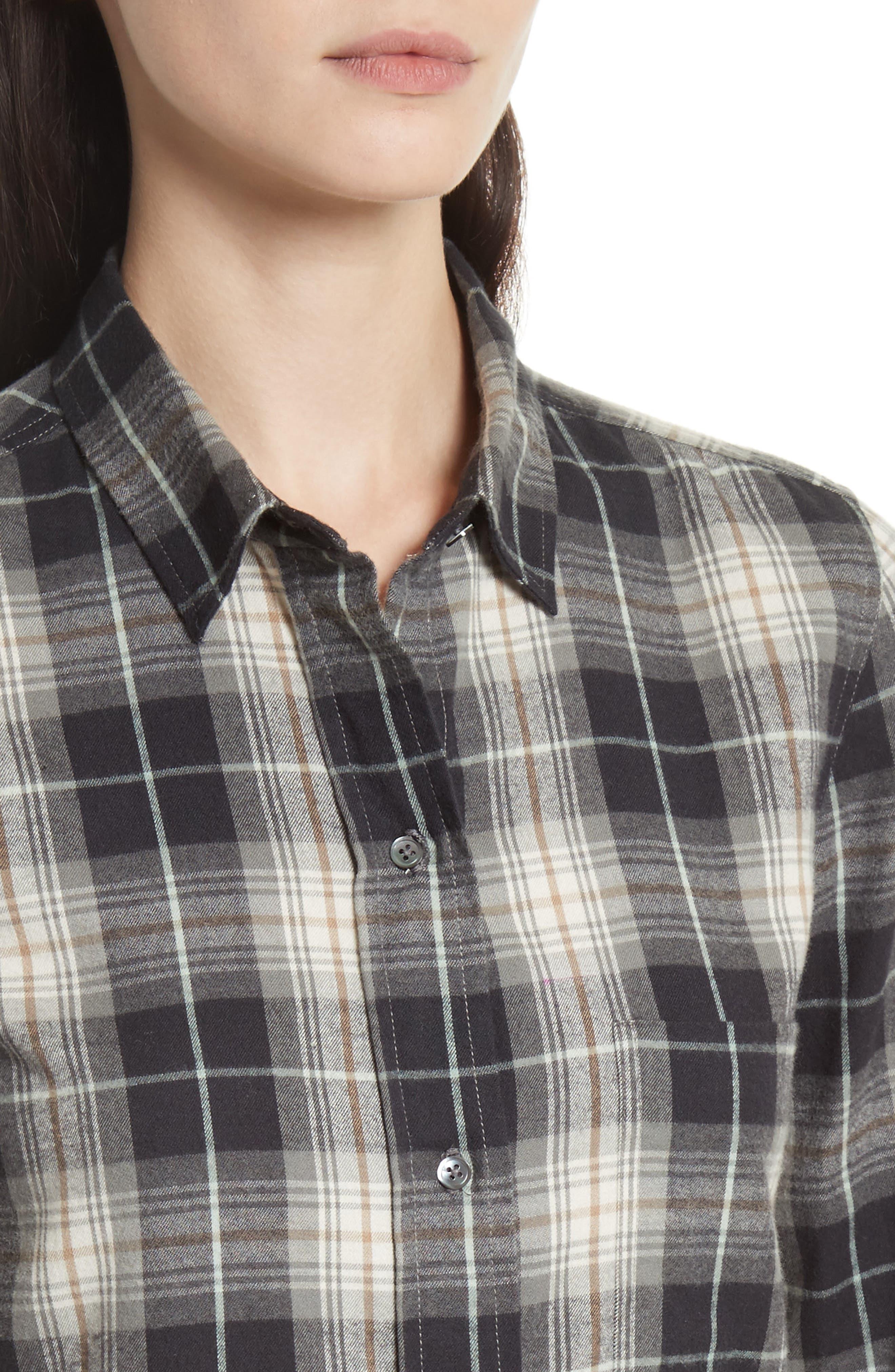 Tartan Plaid Oversize Shirt,                             Alternate thumbnail 4, color,
