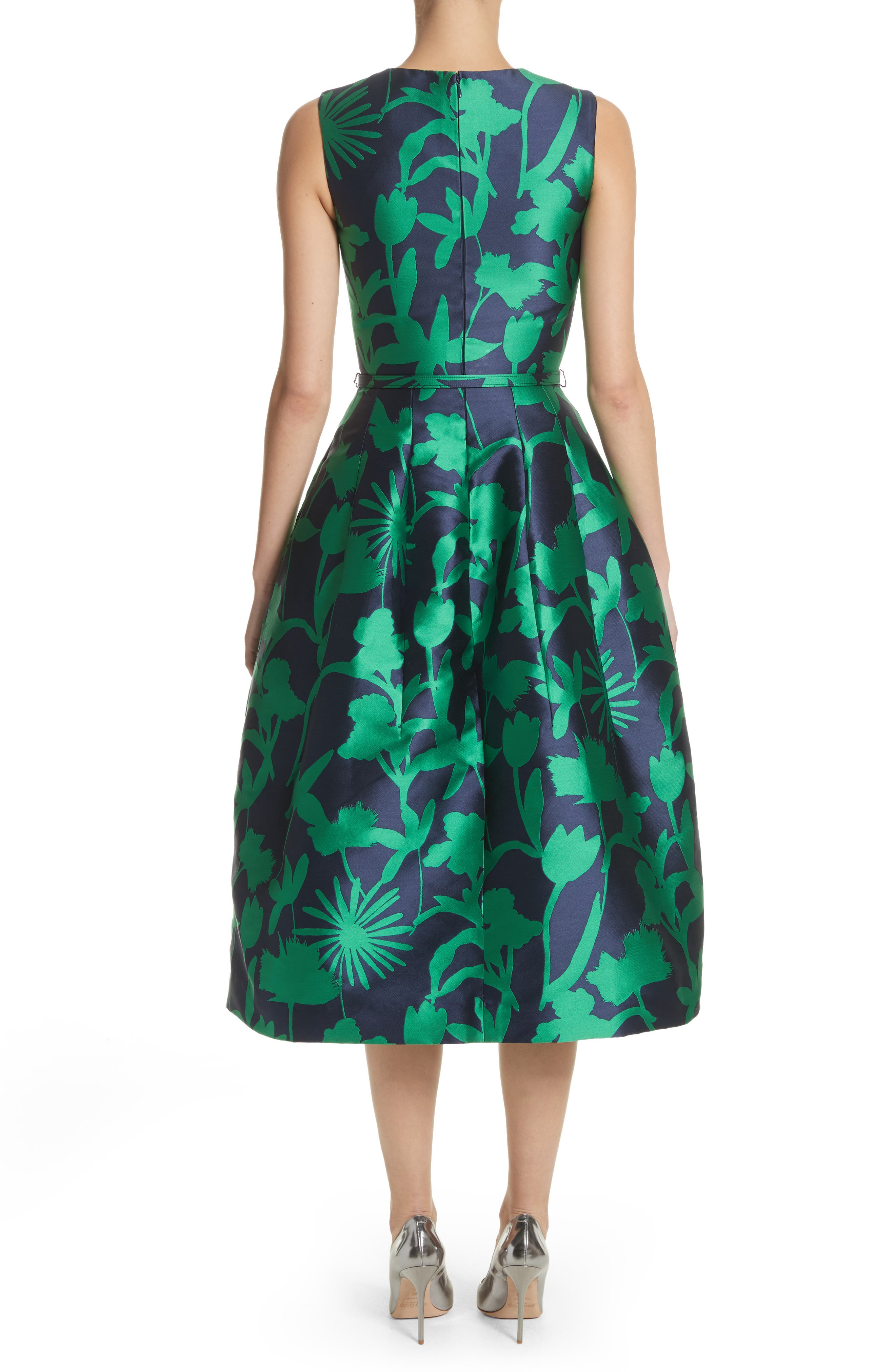Leaf Print Belted Mikado Dress,                             Alternate thumbnail 2, color,                             404