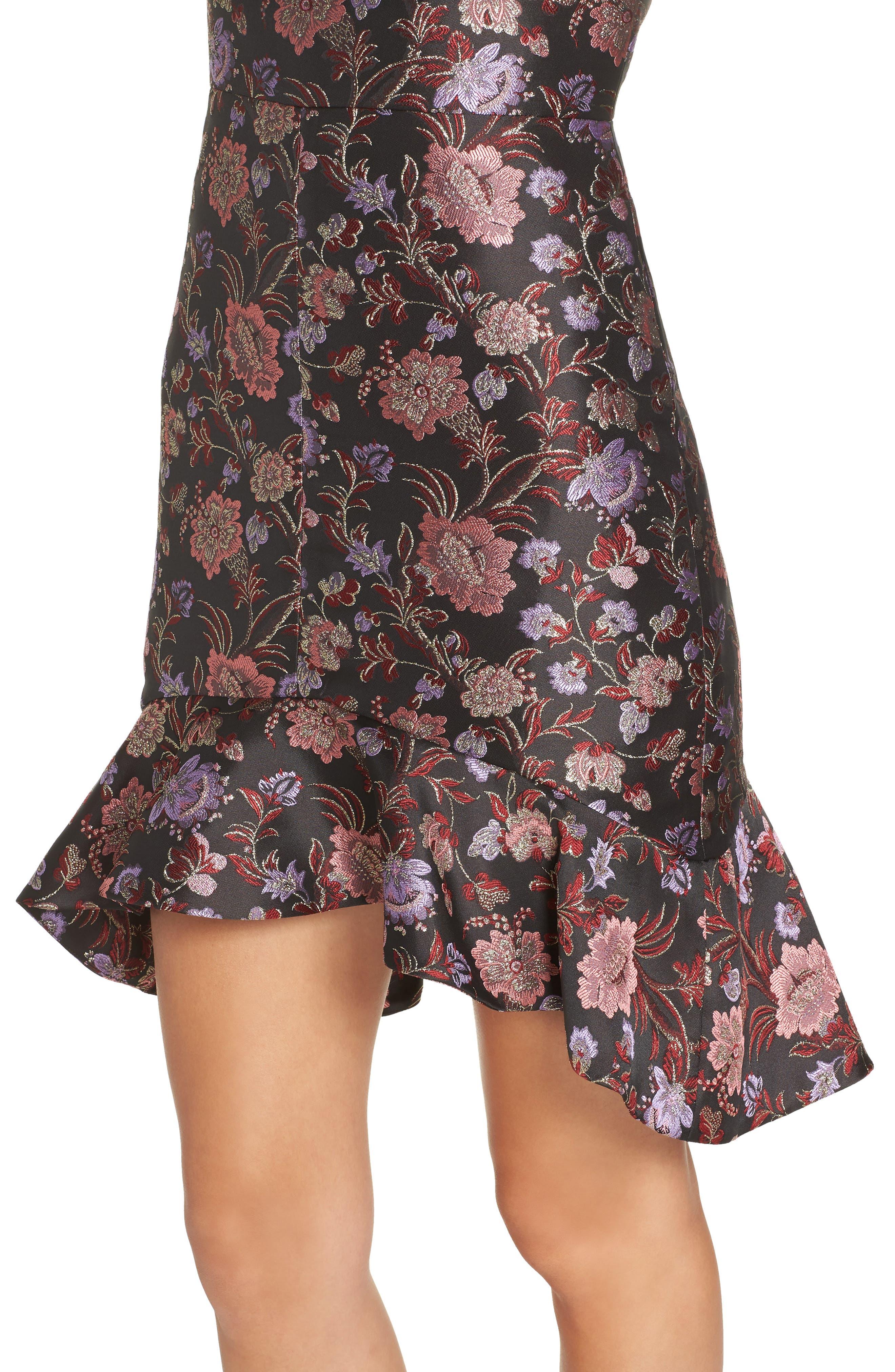 Metallic Jacquard Ruffle Hem Dress,                             Alternate thumbnail 4, color,                             BLACK / PINK COMBO