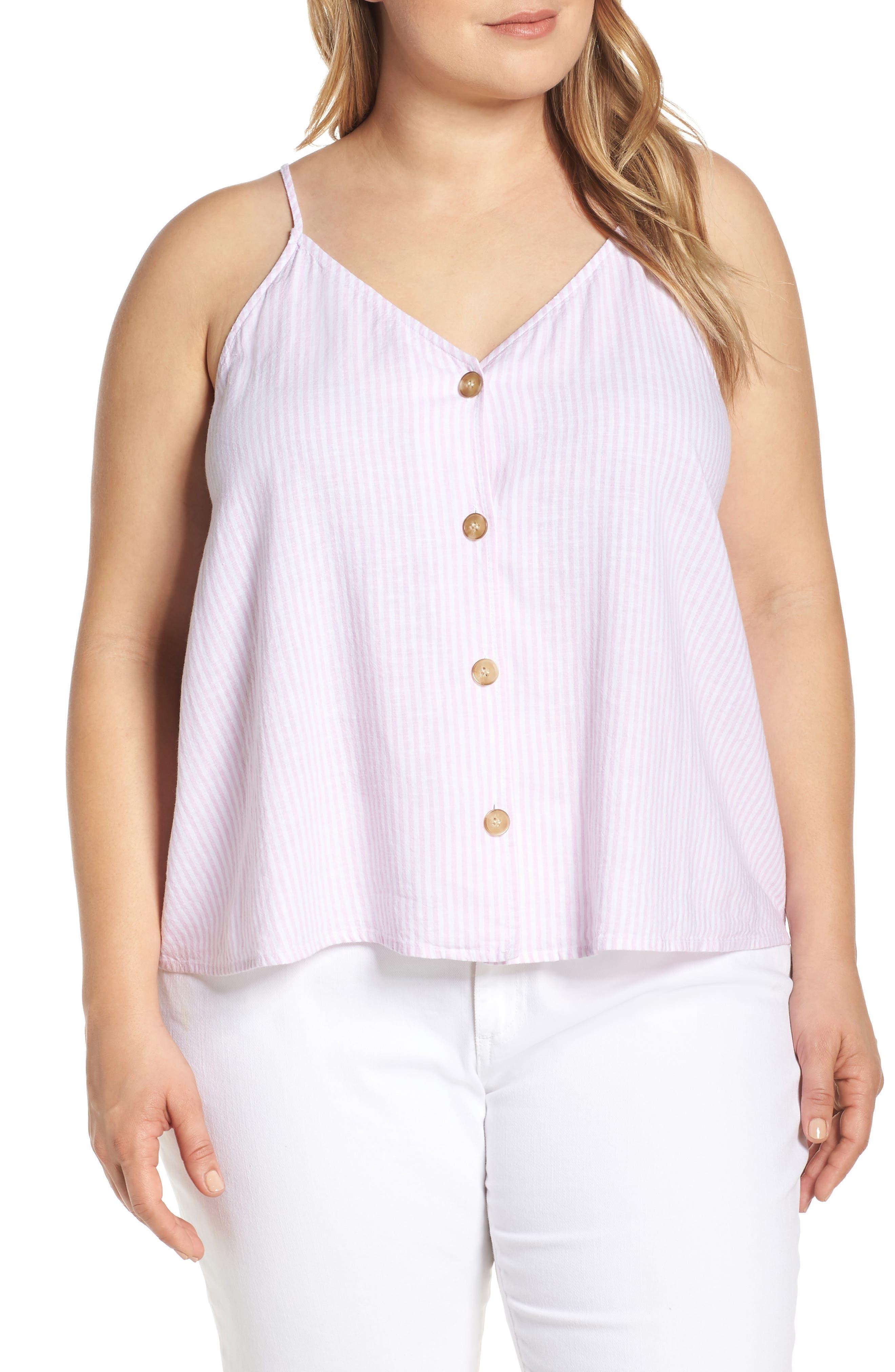 Plus Size Bp. Button Front Linen Blend Camisole Top, Pink