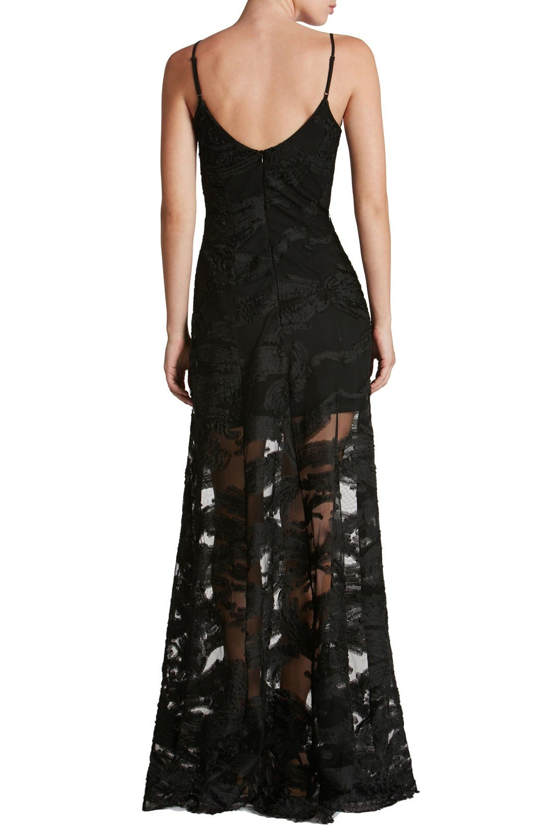 'Florence' Woven Fit & Flare Gown,                             Alternate thumbnail 4, color,                             001
