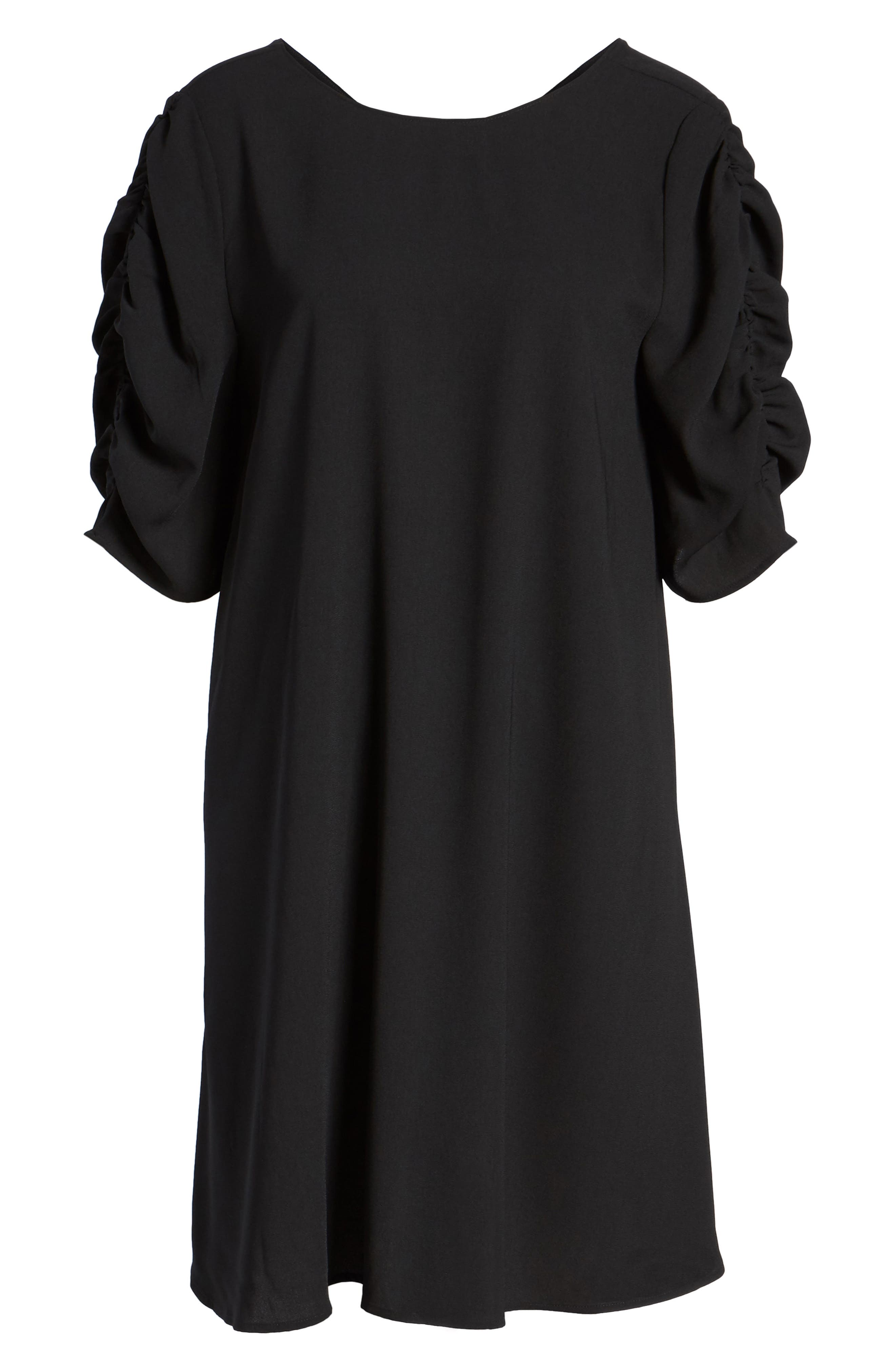 Ruched Sleeve Crepe Dress,                             Alternate thumbnail 6, color,                             001
