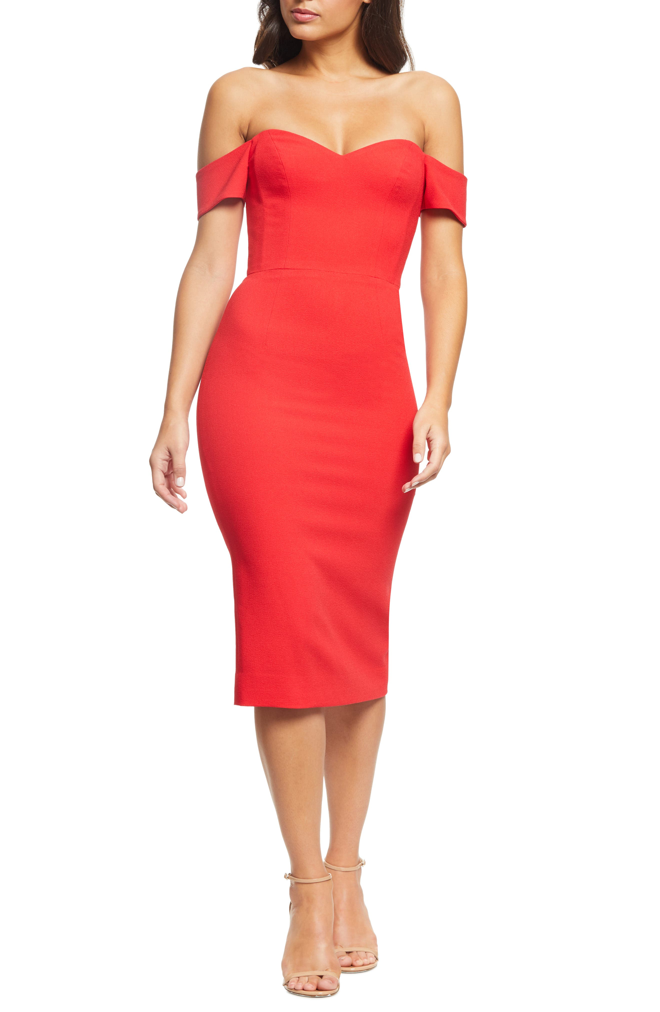 Dress The Population Bailey Off The Shoulder Body-Con Dress, Red