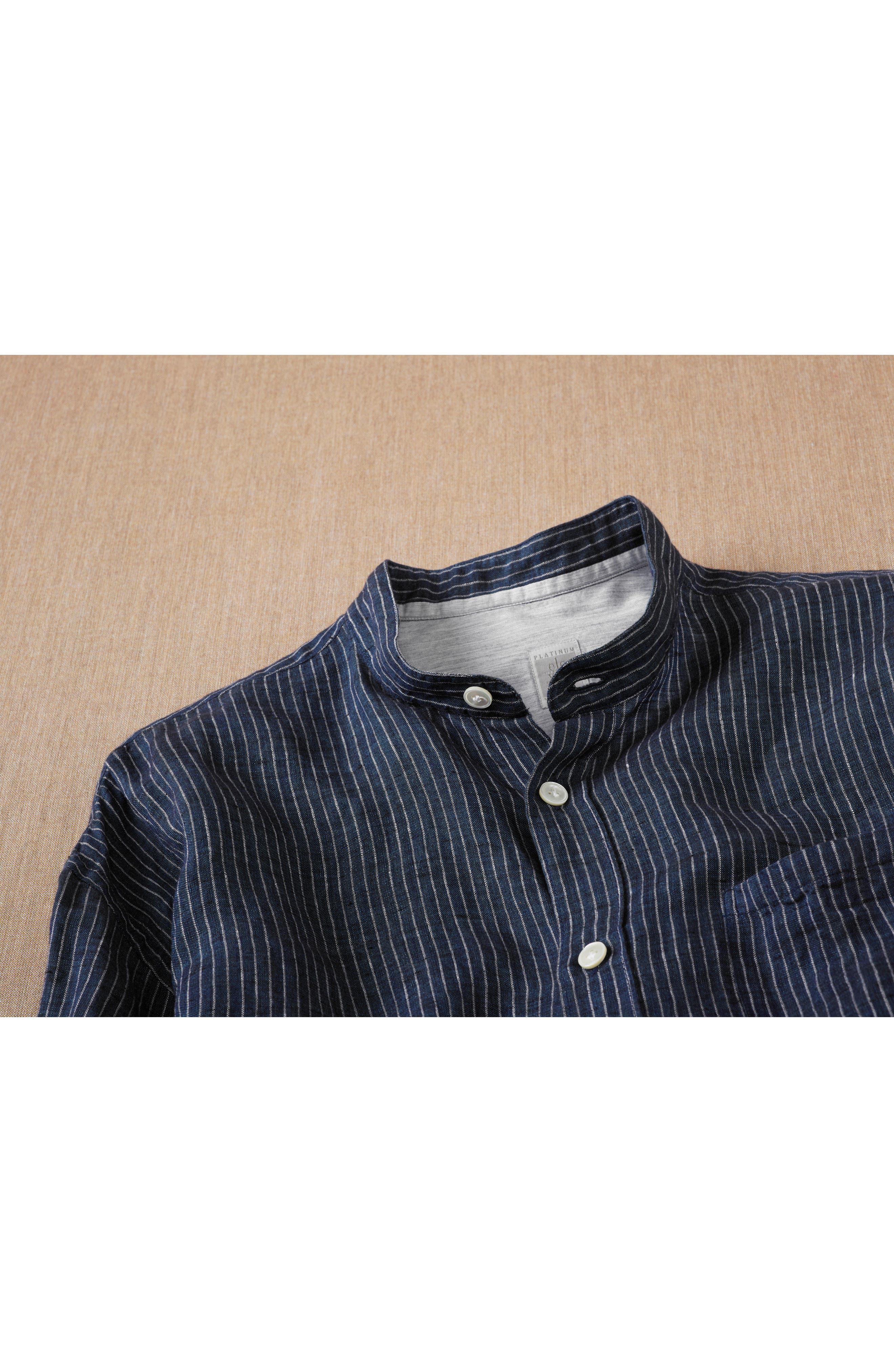Railroad Stripe Linen Sport Shirt,                             Alternate thumbnail 8, color,                             410