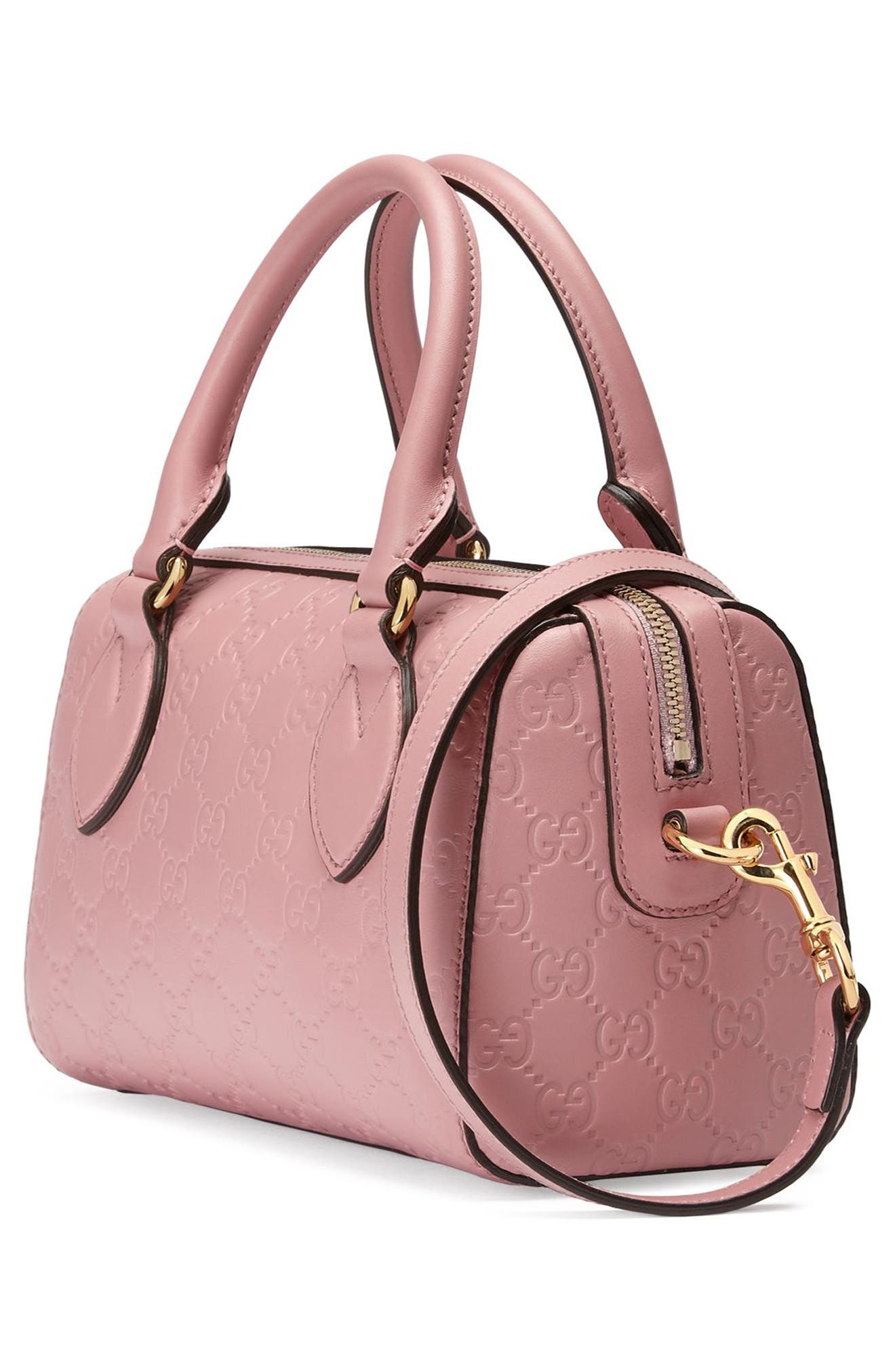 Small Top Handle Signature Leather Satchel,                             Alternate thumbnail 8, color,