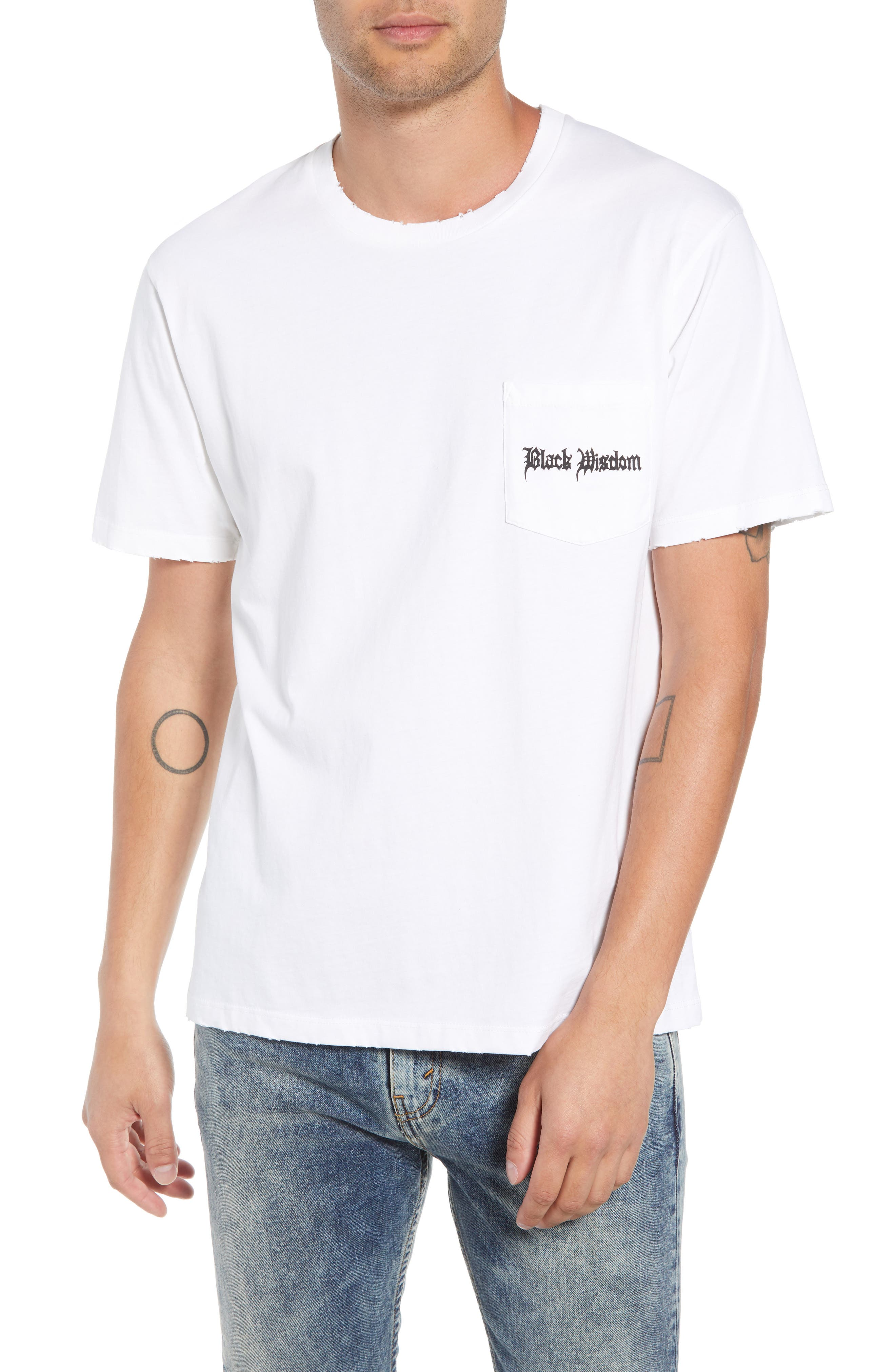 THE KOOPLES Black Wisdom Graphic Pocket T-Shirt in White