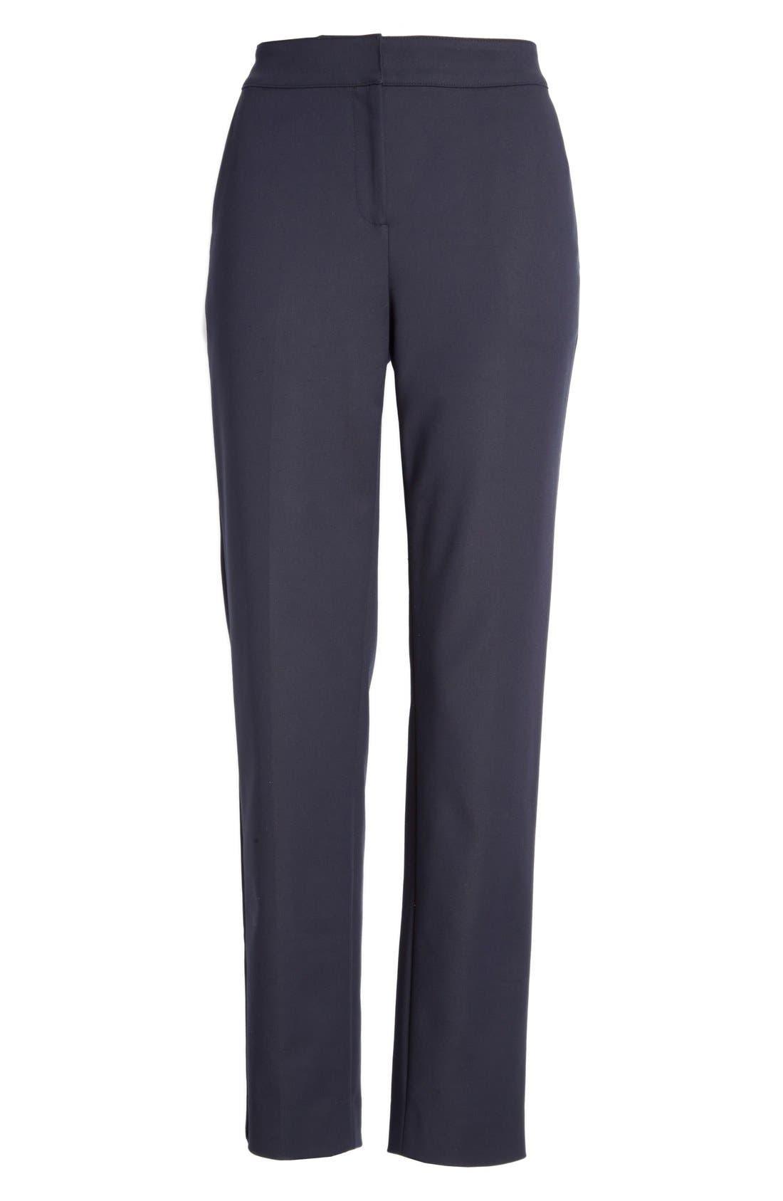 'Emma' Crop Micro Ottoman Pants,                             Alternate thumbnail 3, color,                             NAVY