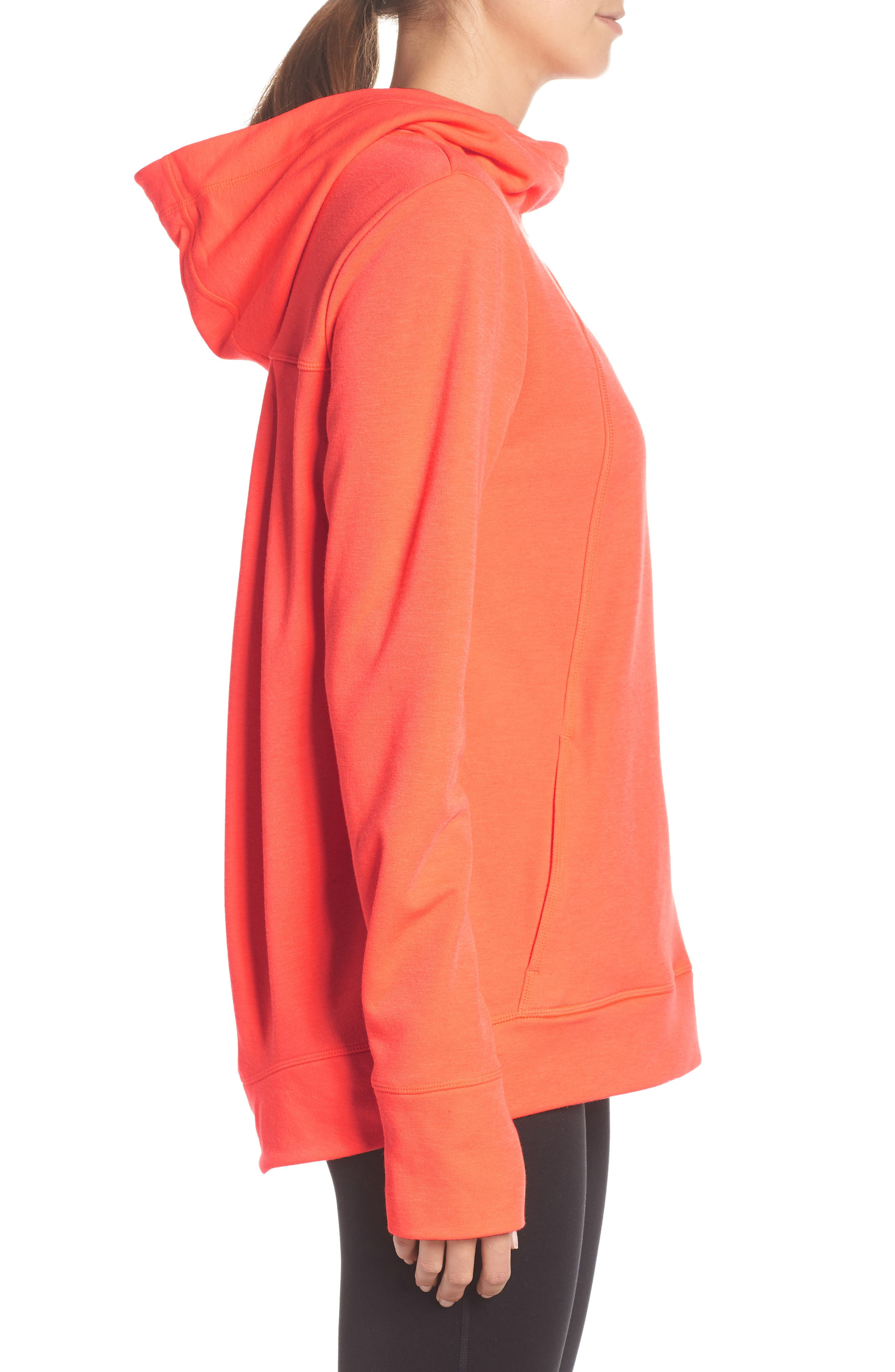Pleated Tech Run Hoodie,                             Alternate thumbnail 3, color,                             CORAL