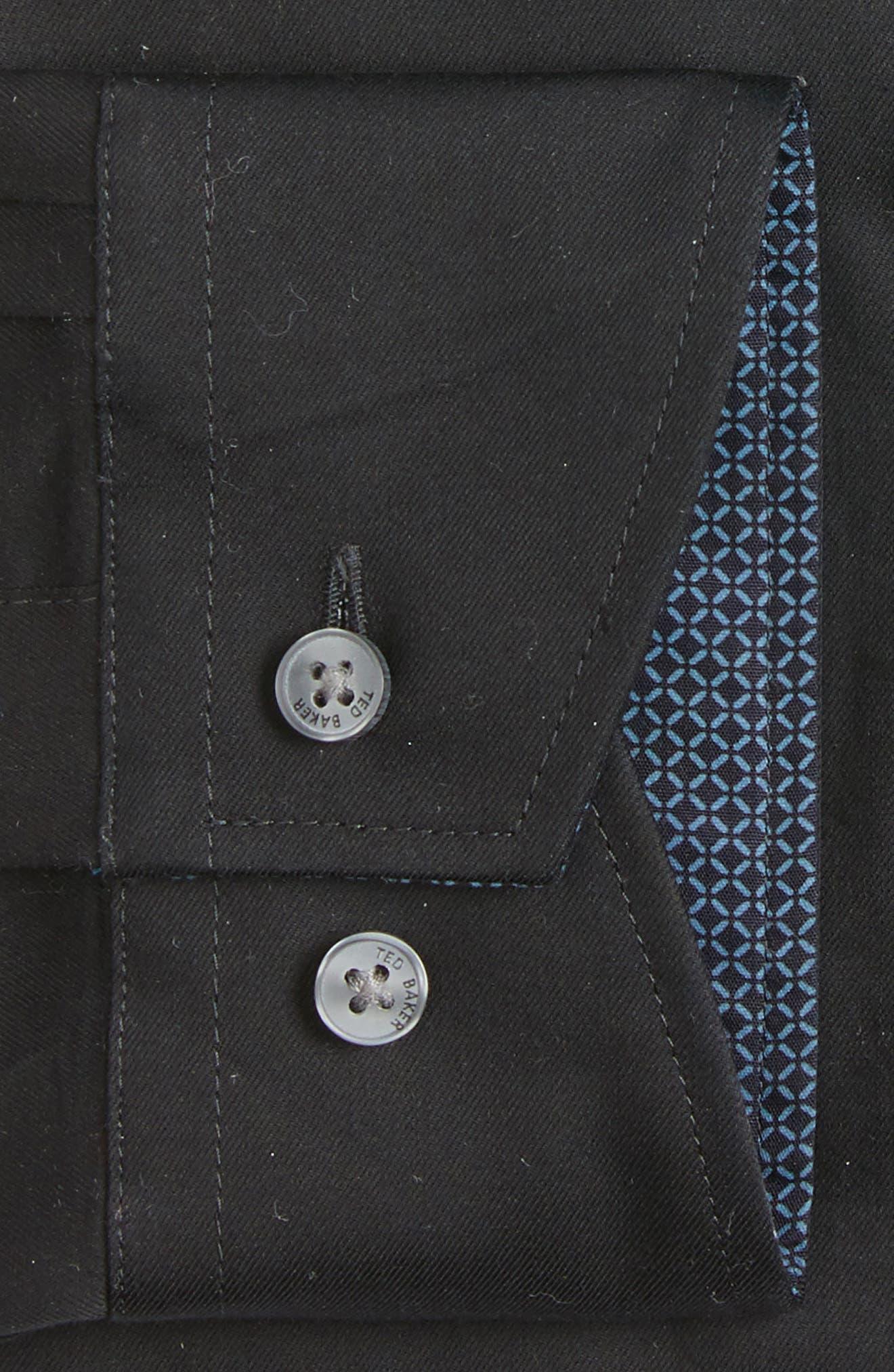 Caramor Trim Fit Solid Dress Shirt,                             Alternate thumbnail 3, color,                             BLACK