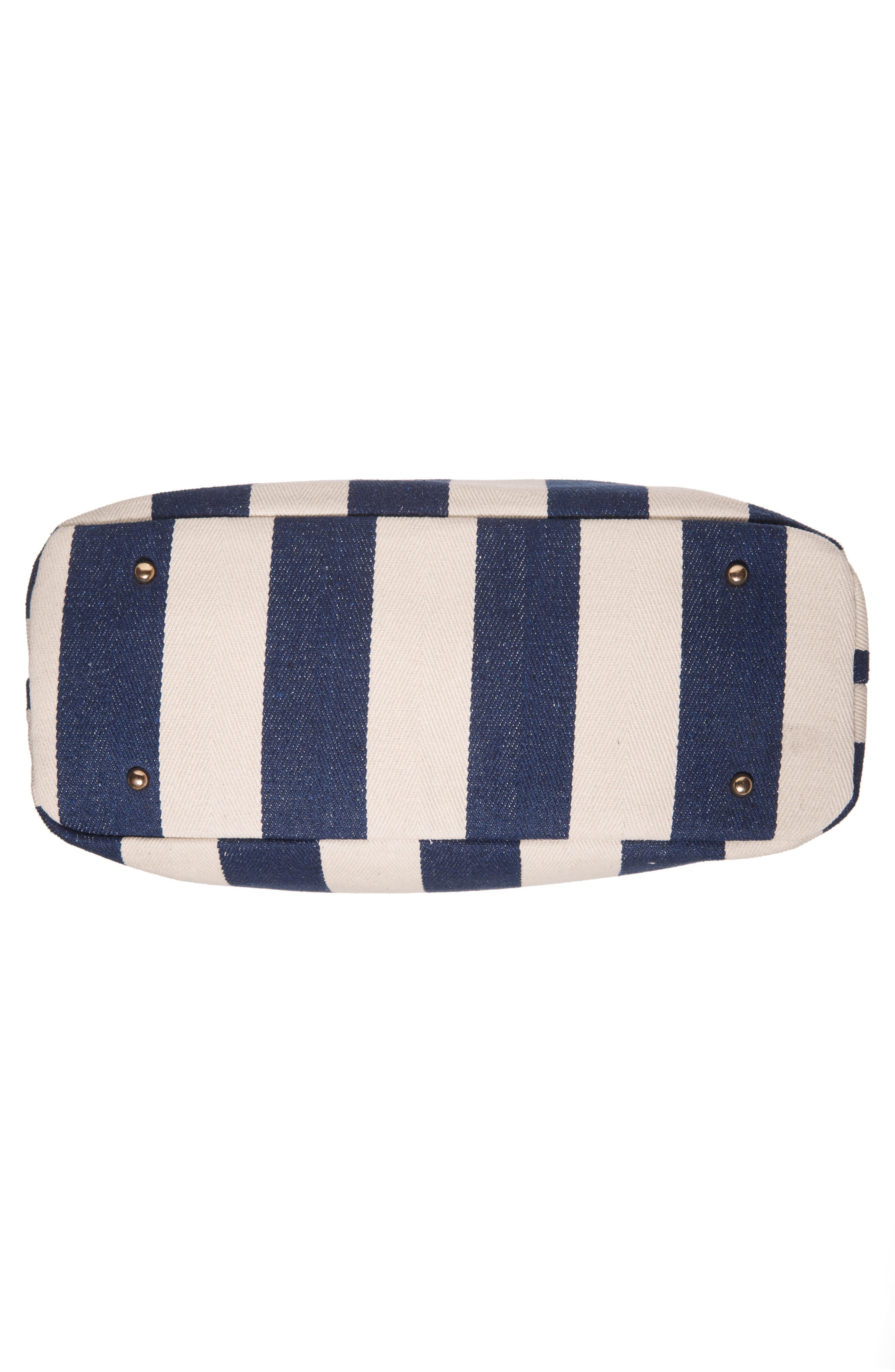 SOLE SOCIETY,                             'Oversize Millie' Stripe Print Tote,                             Alternate thumbnail 6, color,                             NAVY CREAM