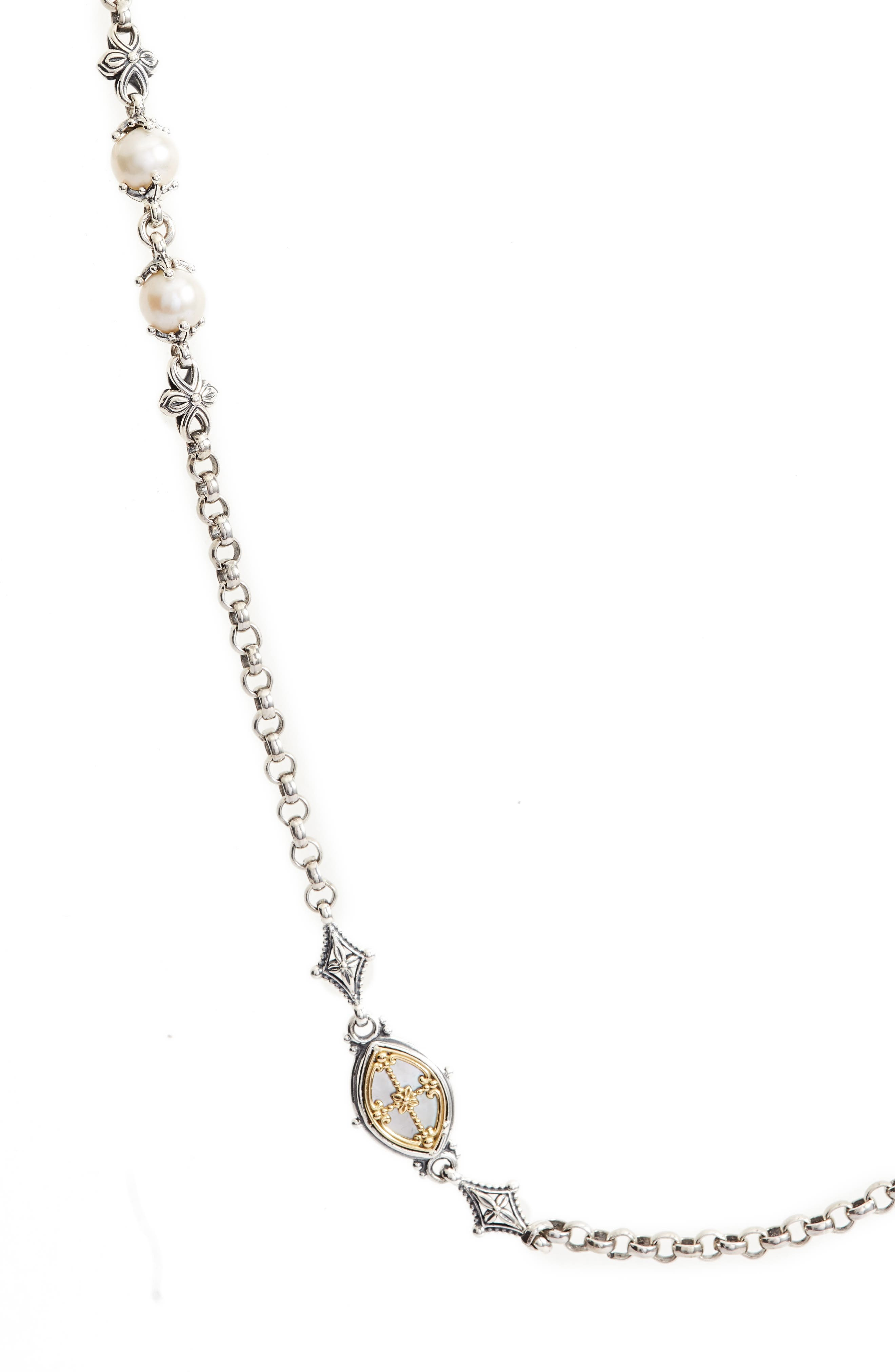 Etched Sterling Station Necklace with Genuine Pearl,                             Alternate thumbnail 2, color,                             SILVER/ GOLD/ WHITE