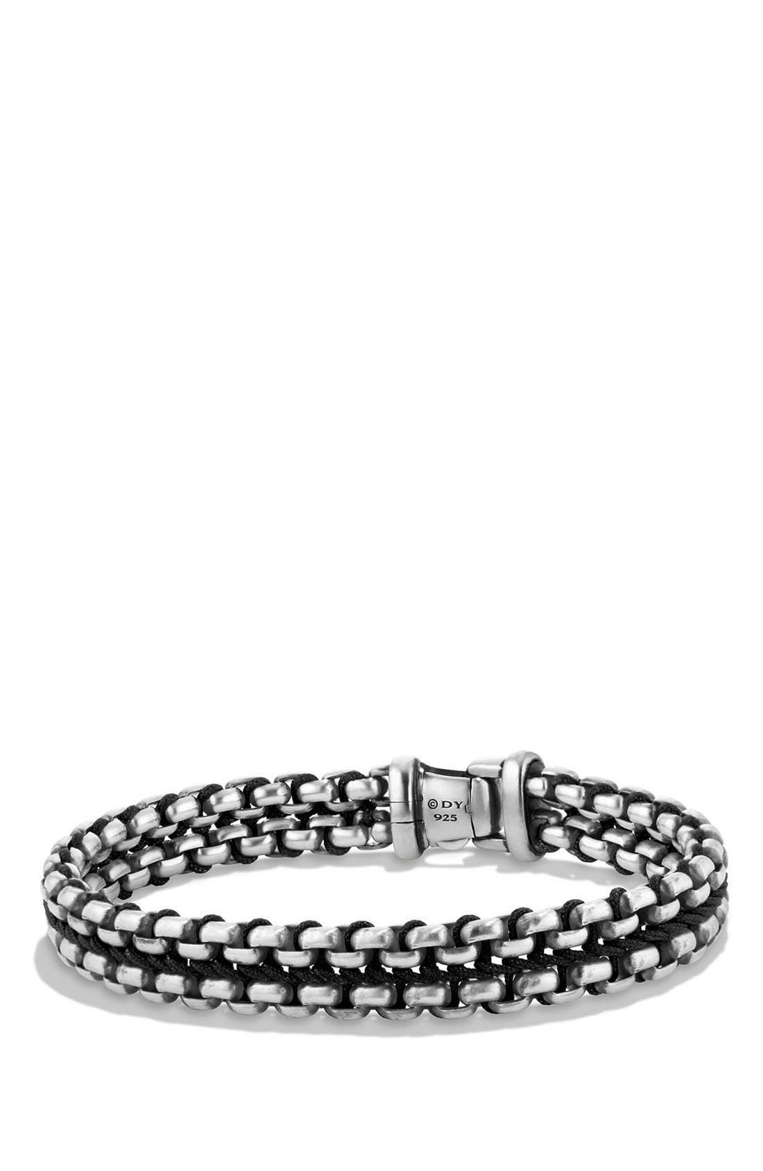 'Chain' Woven Box Chain Bracelet,                             Main thumbnail 1, color,                             SILVER/ BLACK