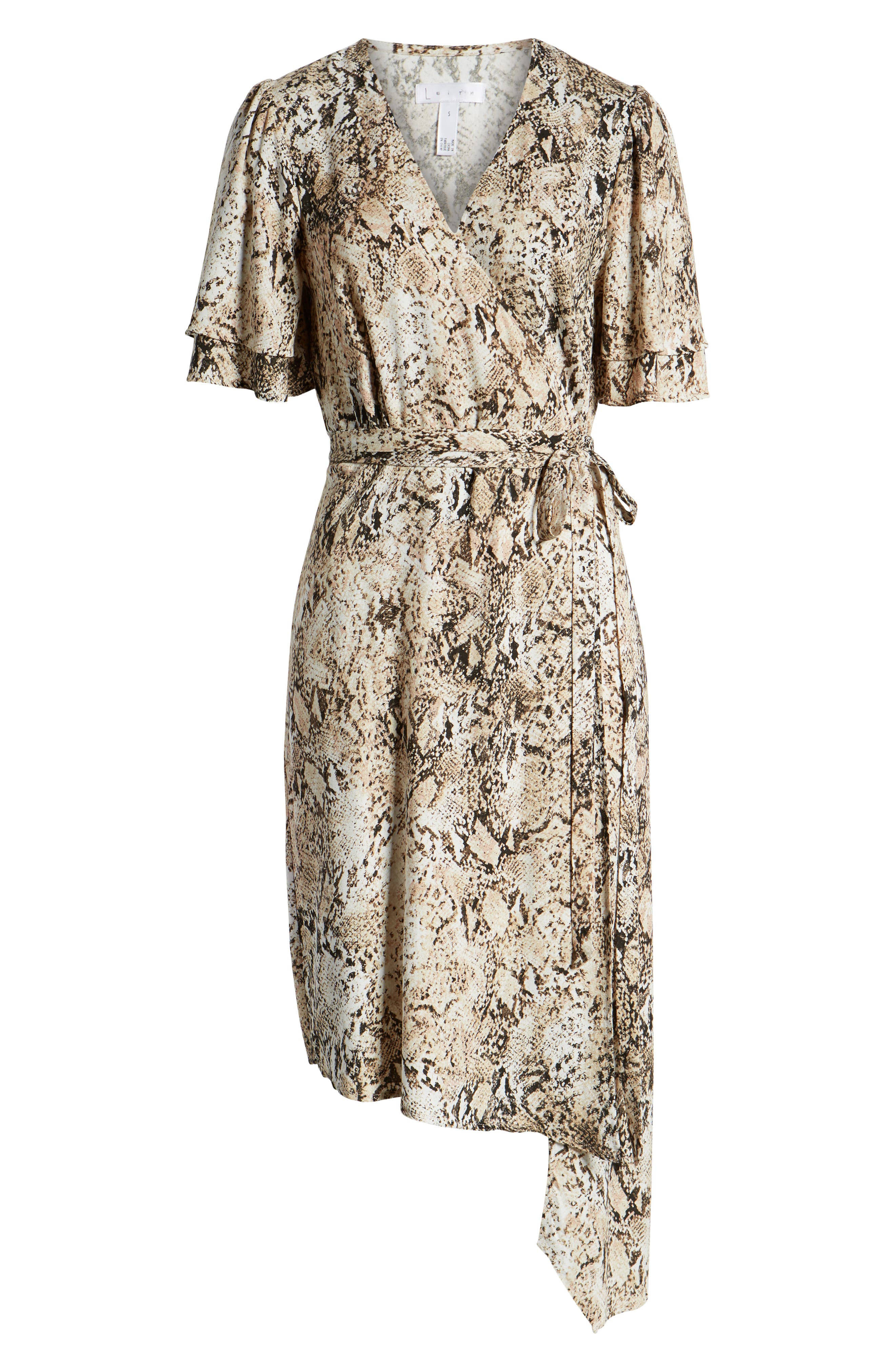 LEITH,                             Ruffle Sleeve Wrap Dress,                             Alternate thumbnail 6, color,                             IVORY SNAKE PRINT