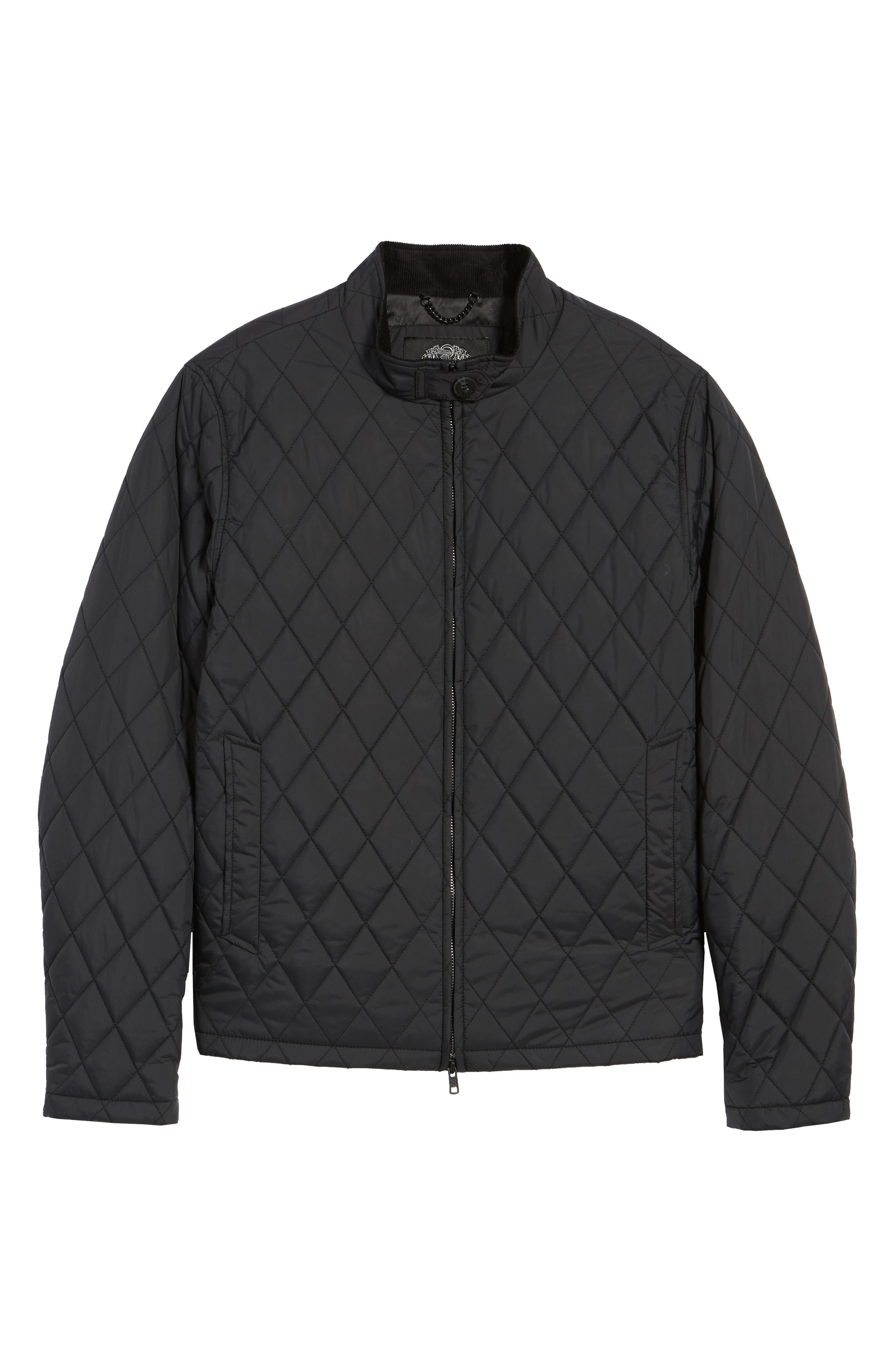 Quilted Moto Jacket,                             Alternate thumbnail 7, color,                             BLACK