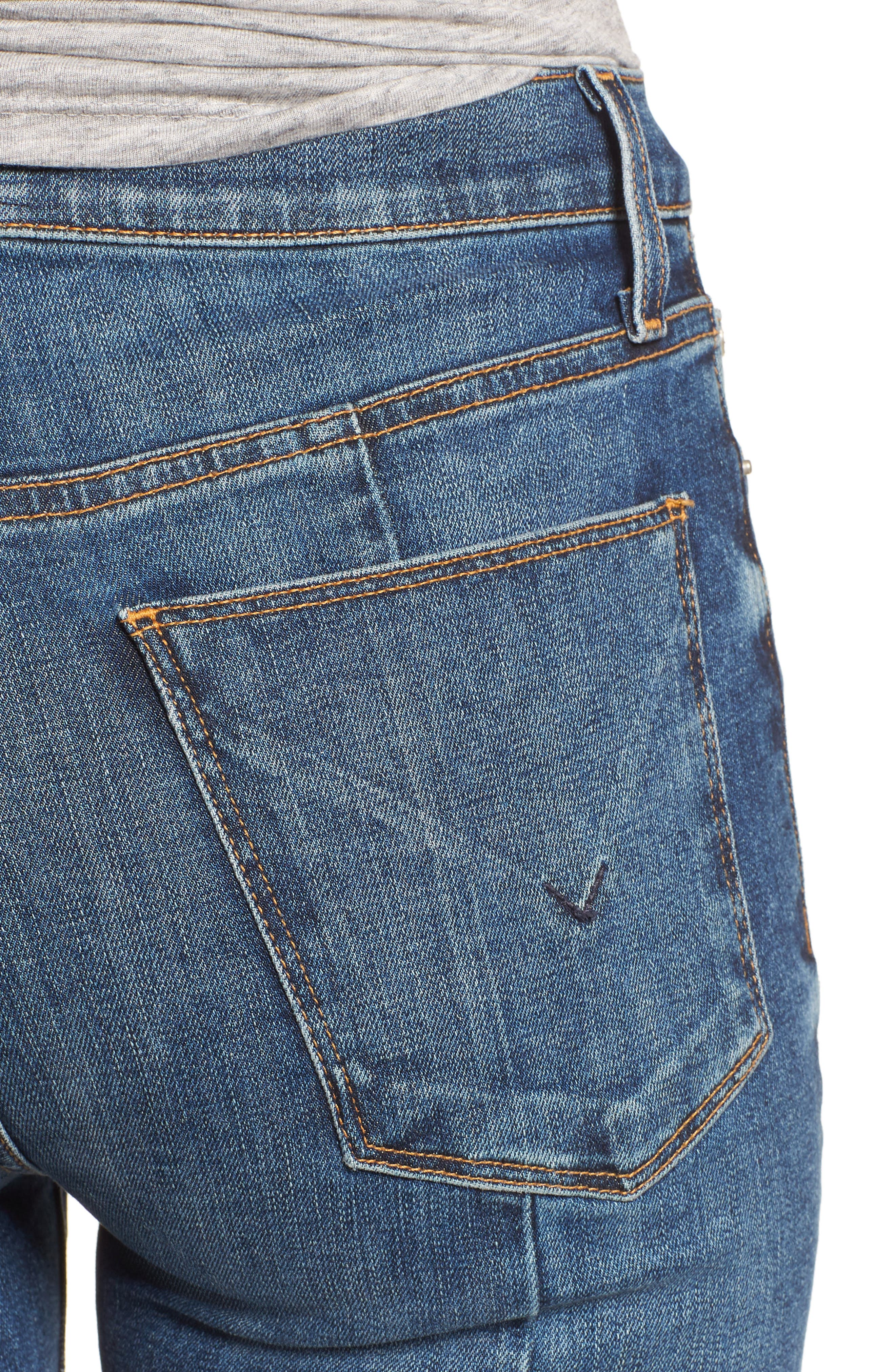 Holly High Waist Crop Flare Jeans,                             Alternate thumbnail 4, color,                             LOSS CONTROL