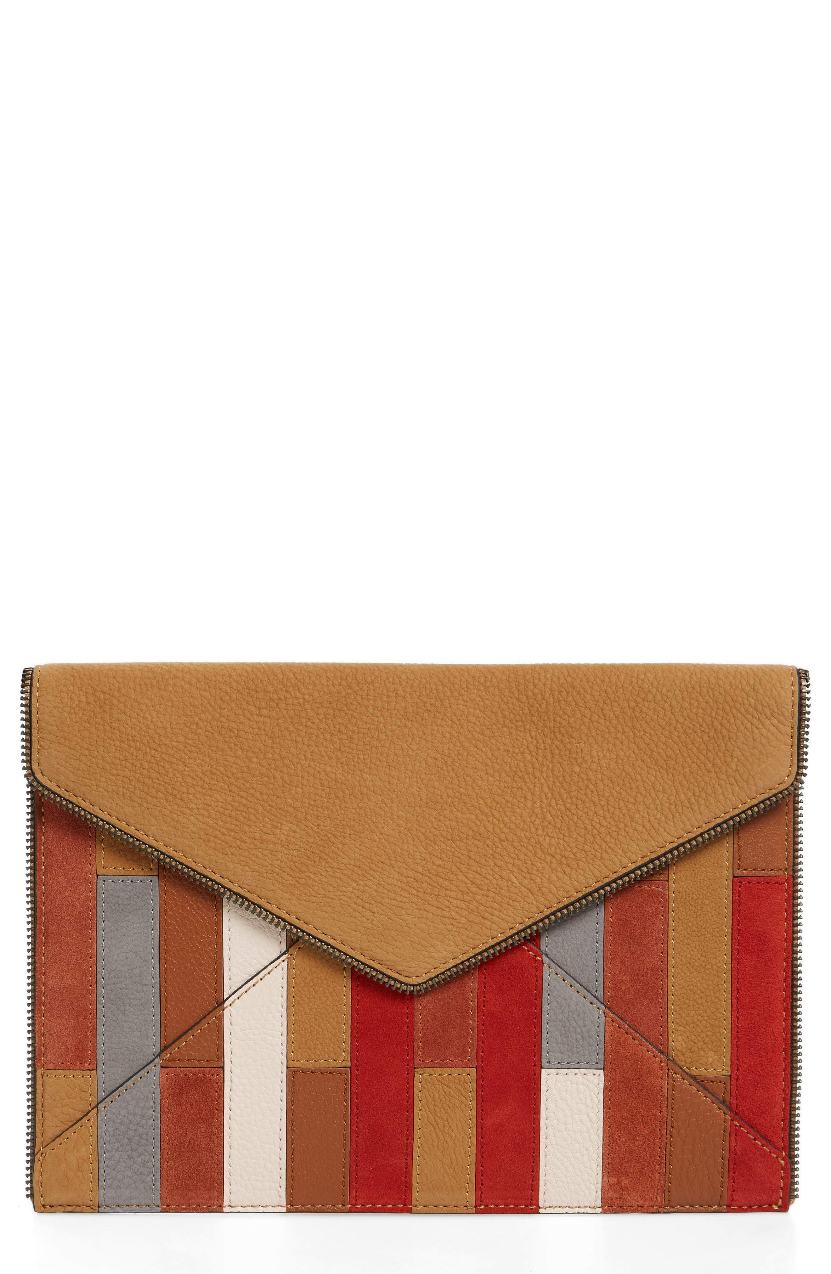 REBECCA MINKOFF Leo Leather Envelope Clutch, Main, color, 210