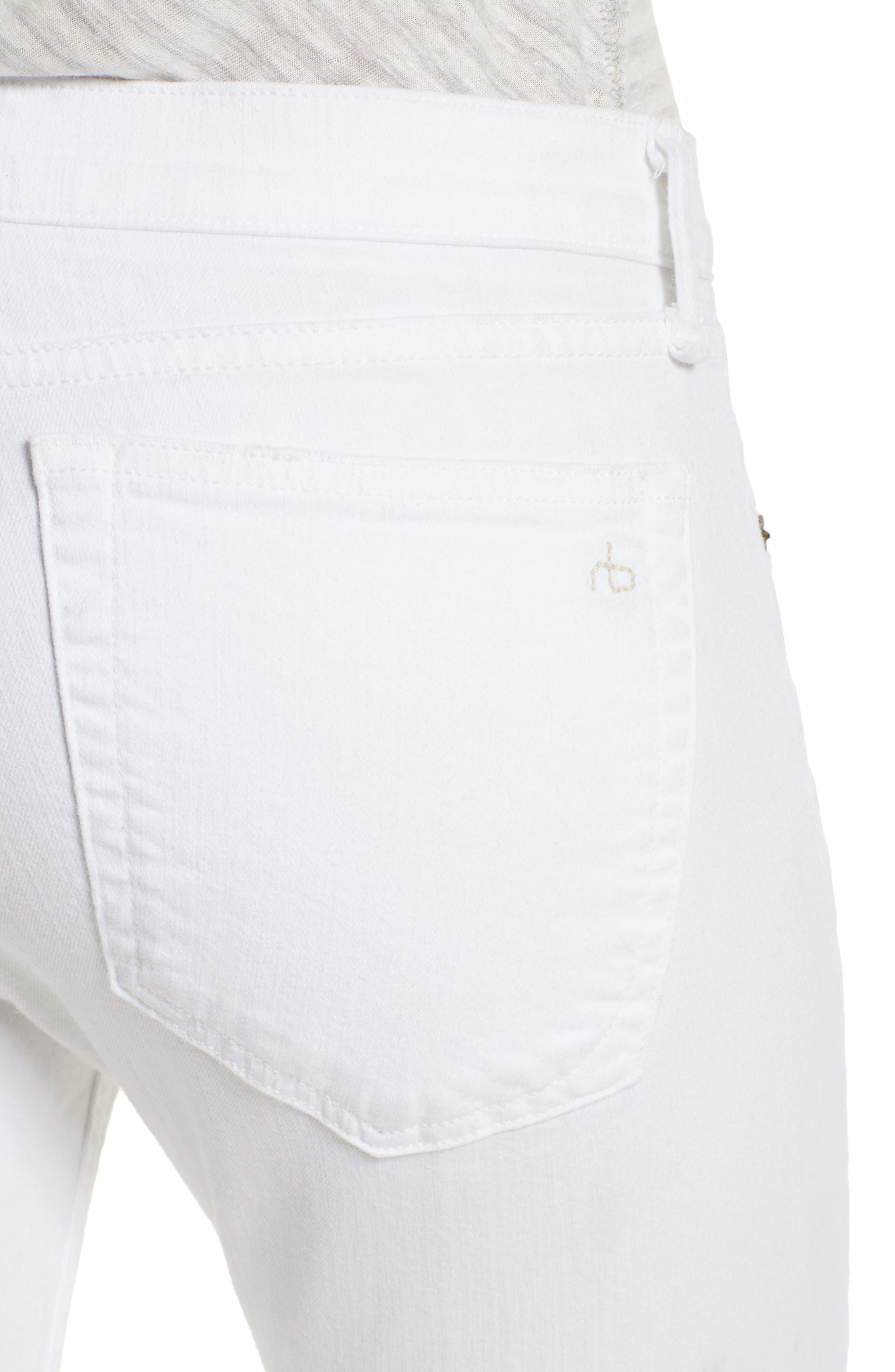 High Waist Step Hem Slim Boyfriend Jeans,                             Alternate thumbnail 4, color,                             108