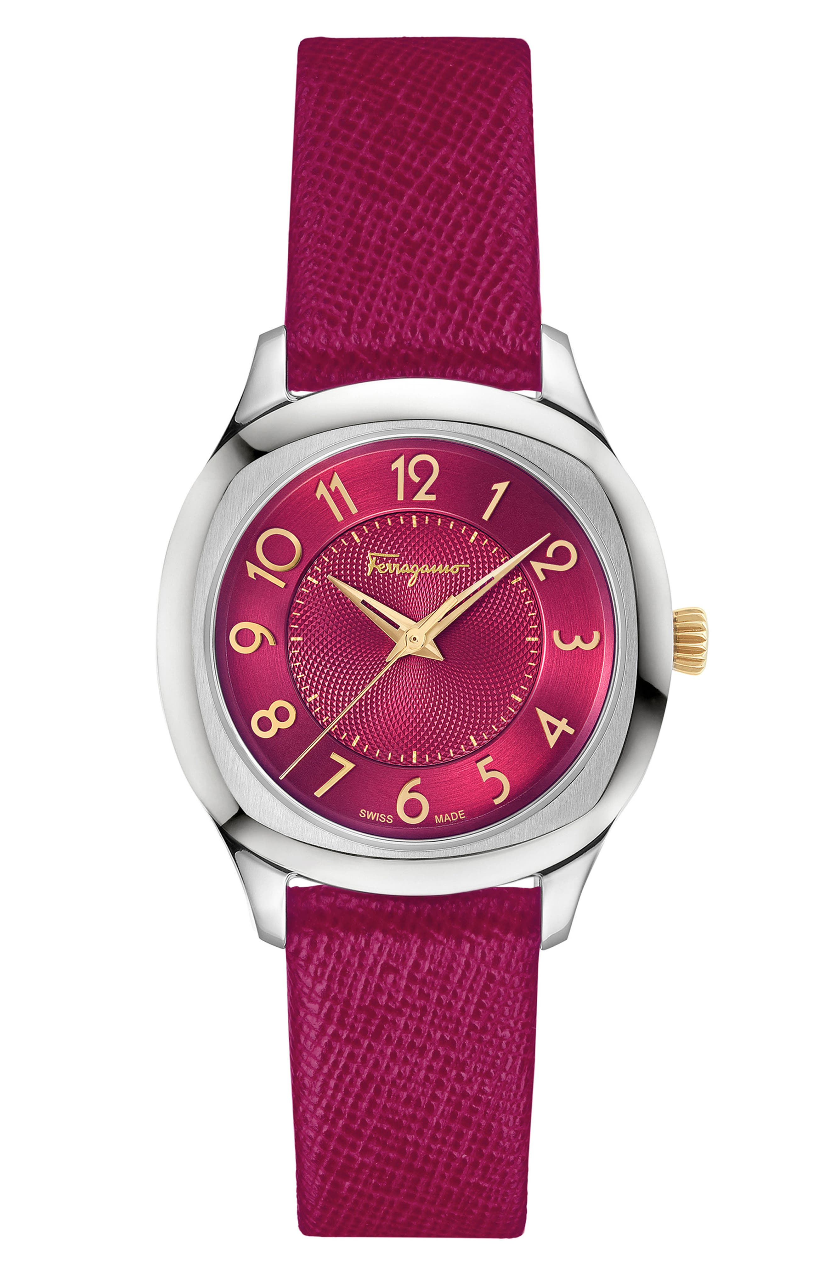 Dual Leather Strap Watch, 36mm,                             Main thumbnail 1, color,                             FUCHSIA/ SILVER