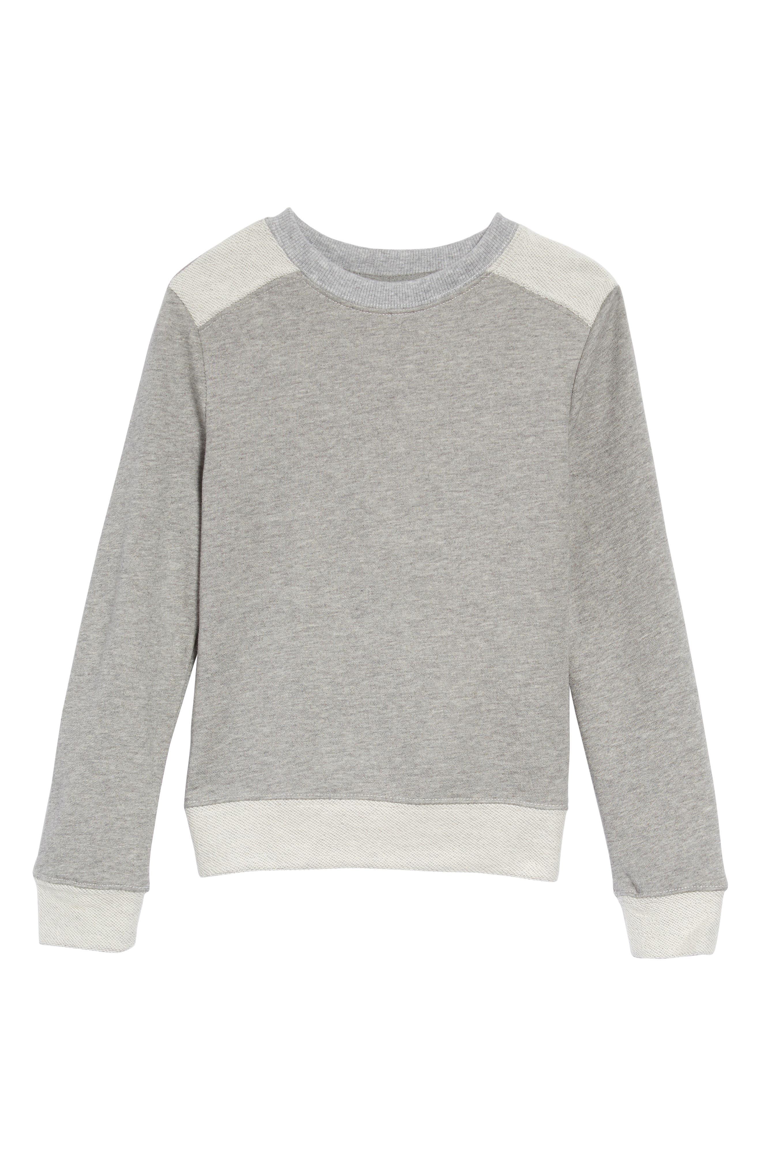 Boys Hudson Kids Switch French Terry Crewneck Sweatshirt Size 5  Grey