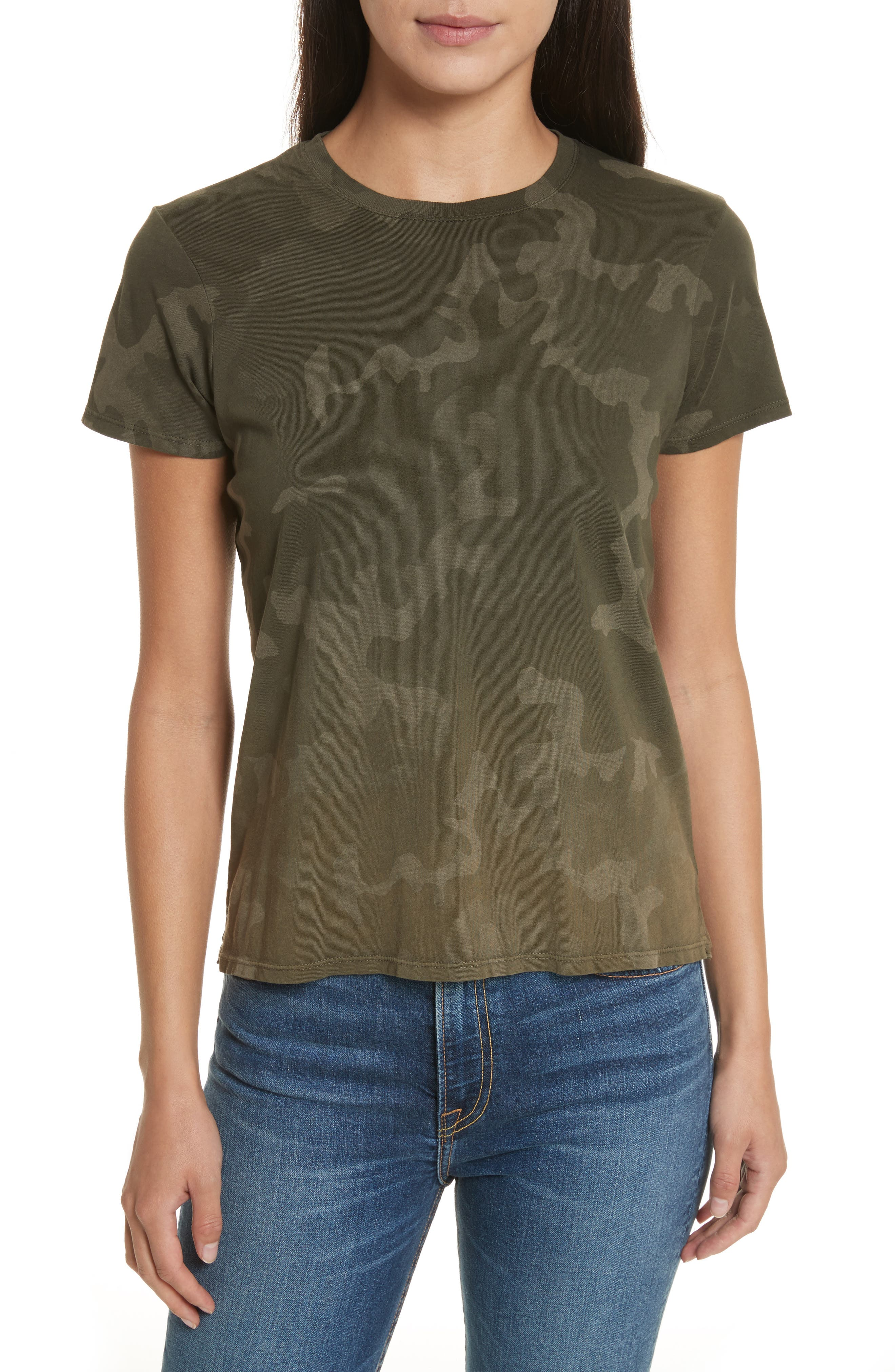 Camouflage Print Cotton Tee,                         Main,                         color, 341