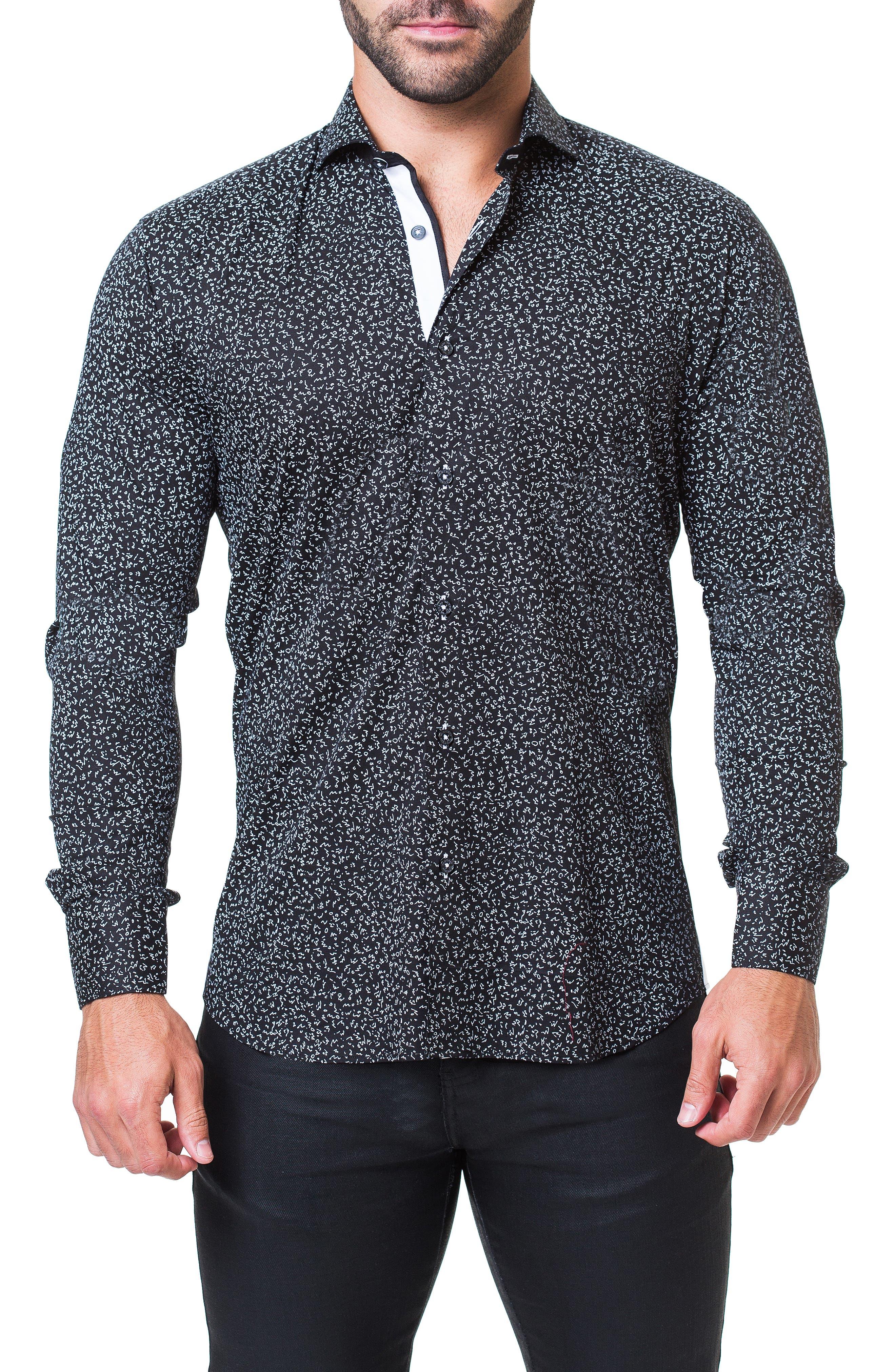 Einstein Abstract Regular Fit Sport Shirt,                         Main,                         color, BLACK