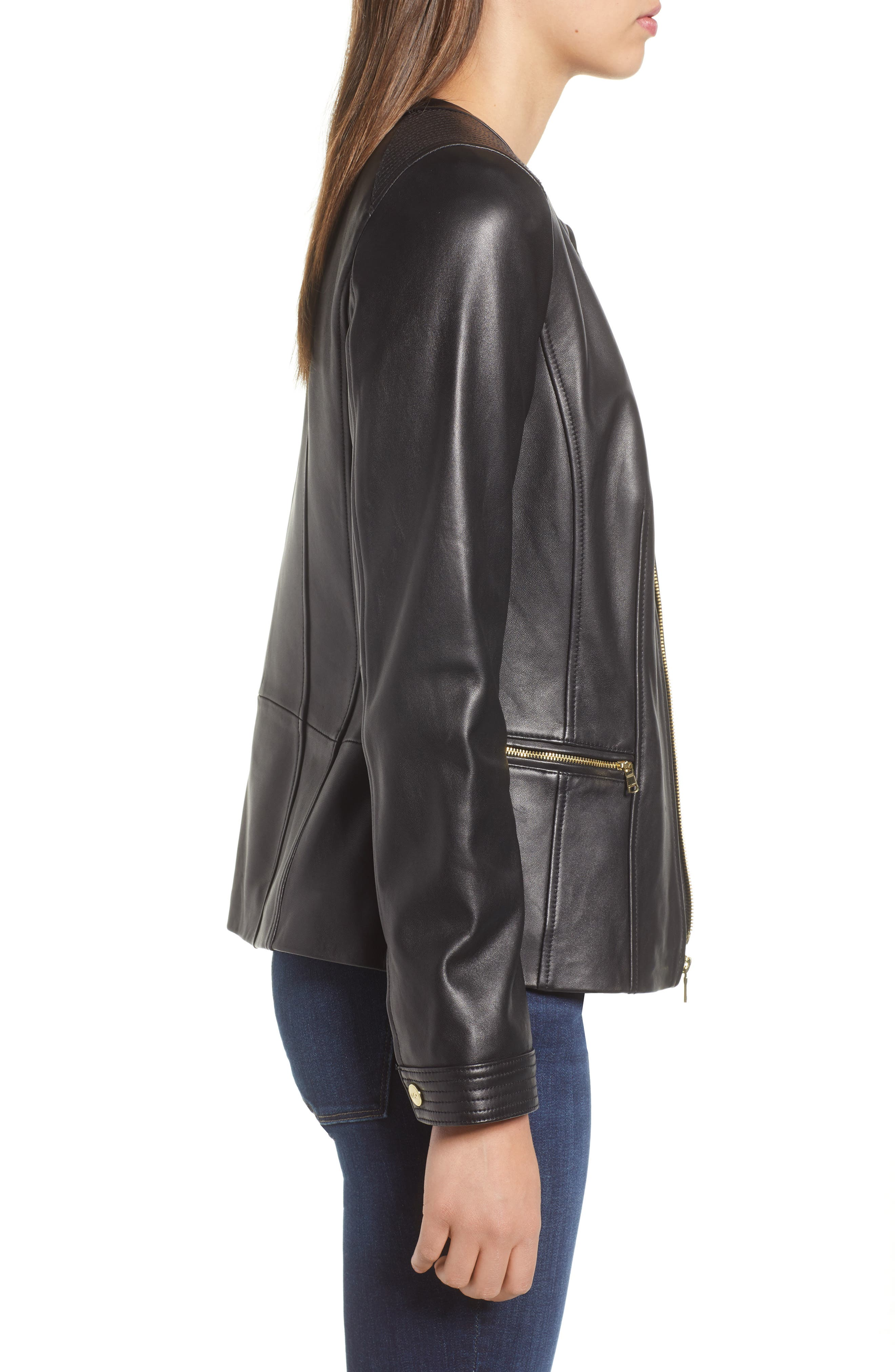 Smooth Lambskin Leather Jacket,                             Alternate thumbnail 3, color,                             002